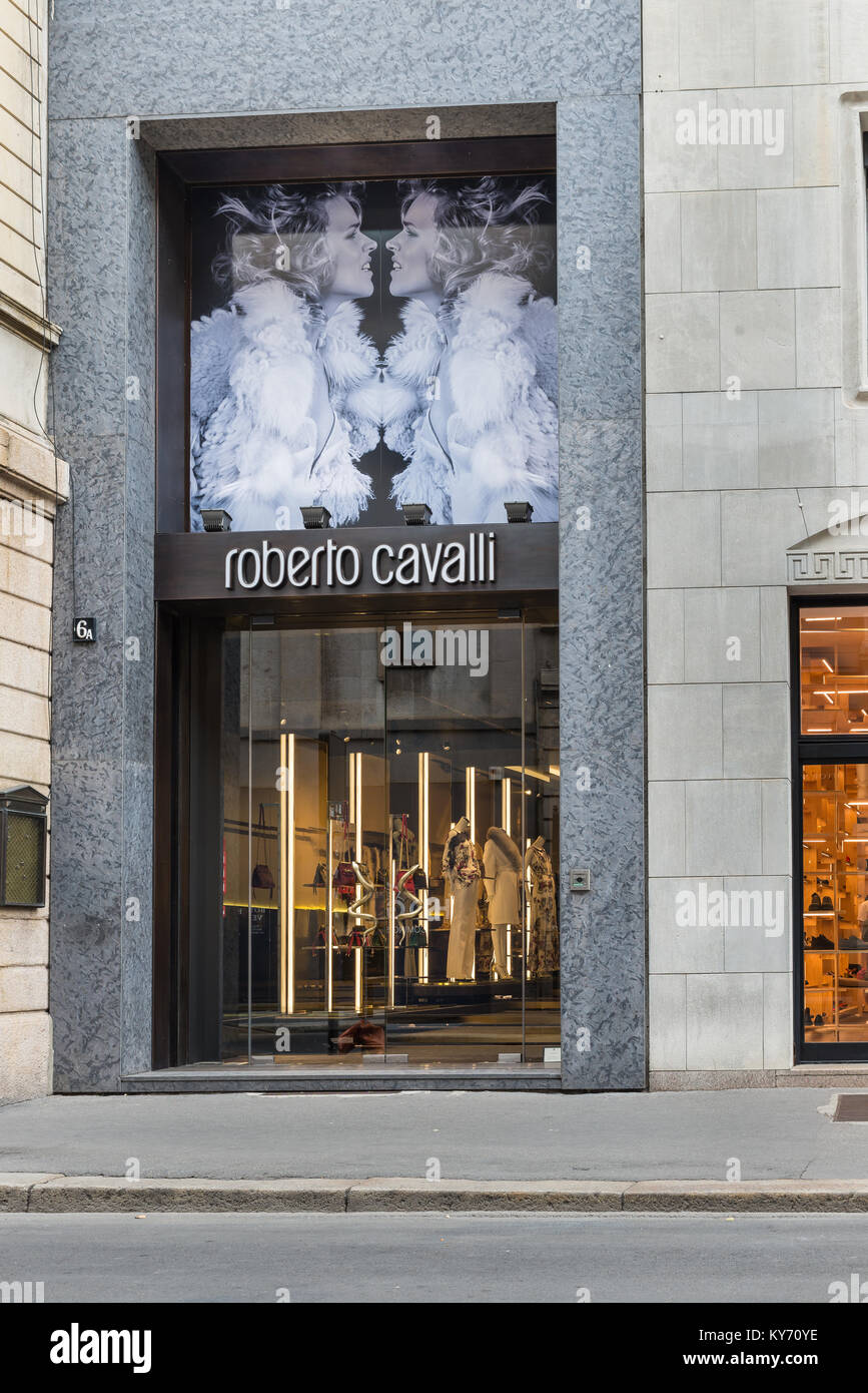 Milan, Italy - August 10, 2017: Roberto Cavalli shop in the city center of Milan, concept of luxury, shopping, elegance Stock Photo
