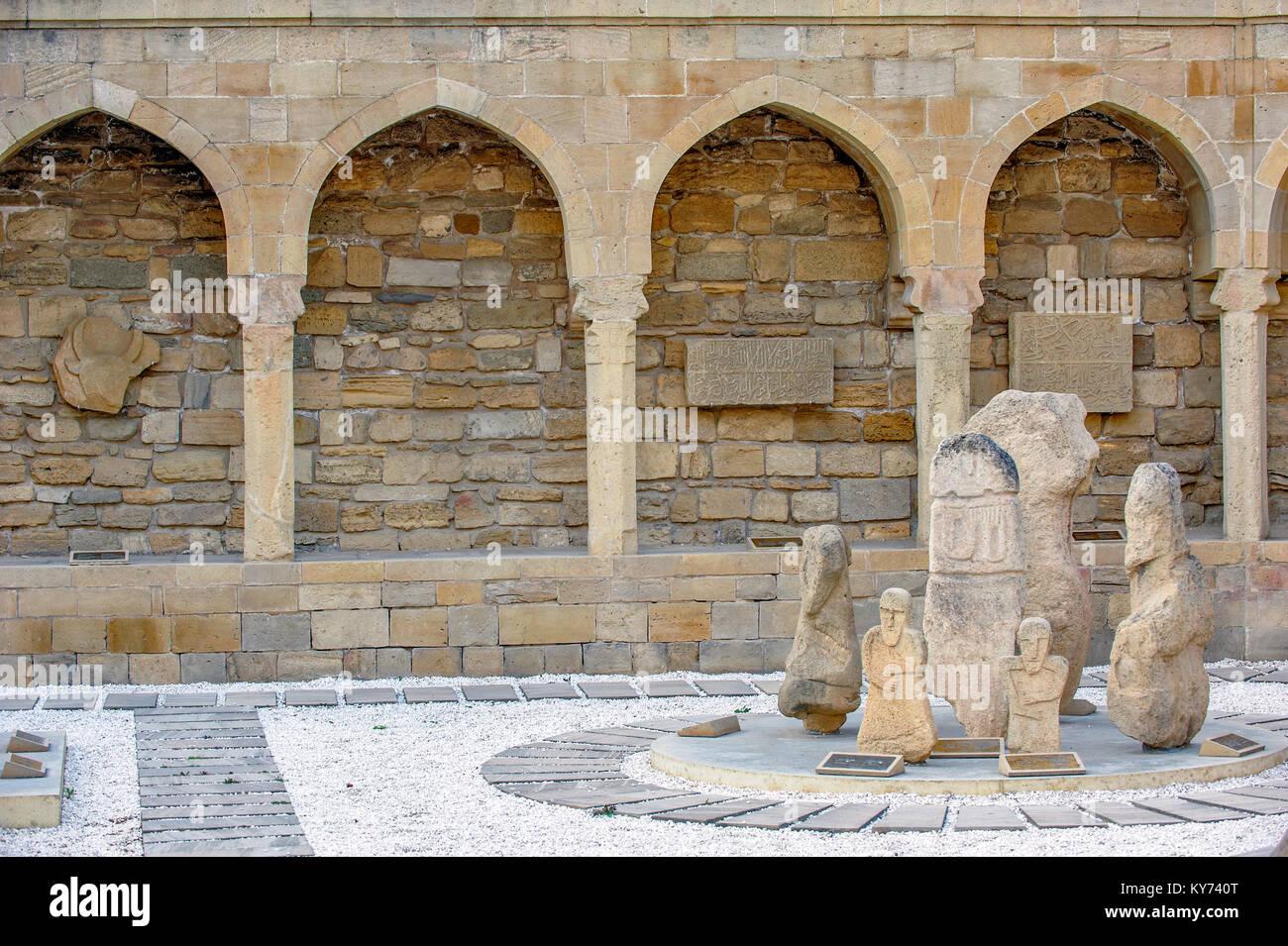 Archaeological exposition in old city, Baku, Azerbaijan - Stock Image