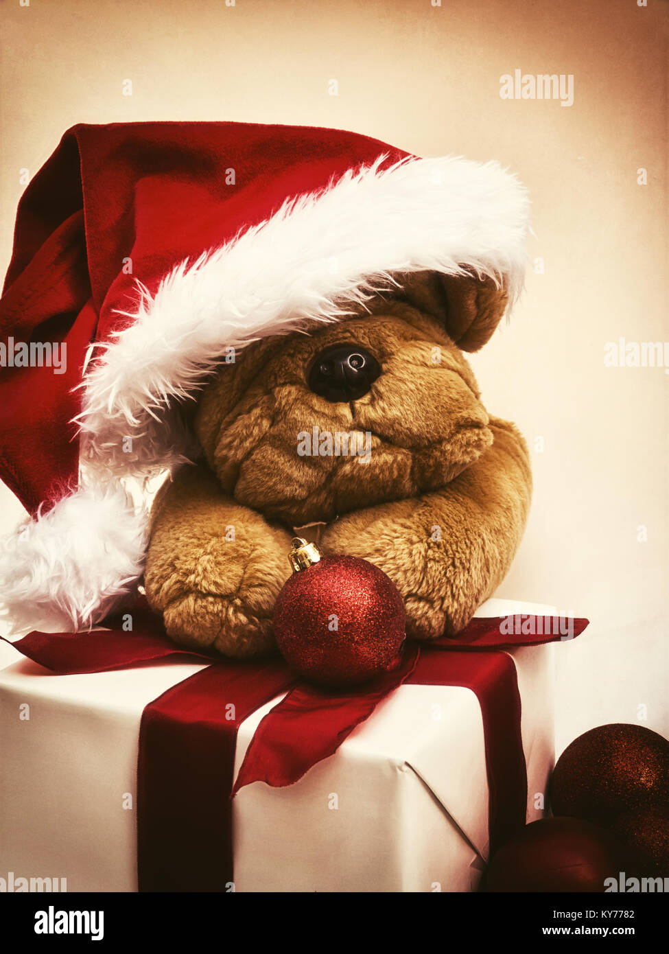 Christmas teddy bear with santa hat and present - Stock Image