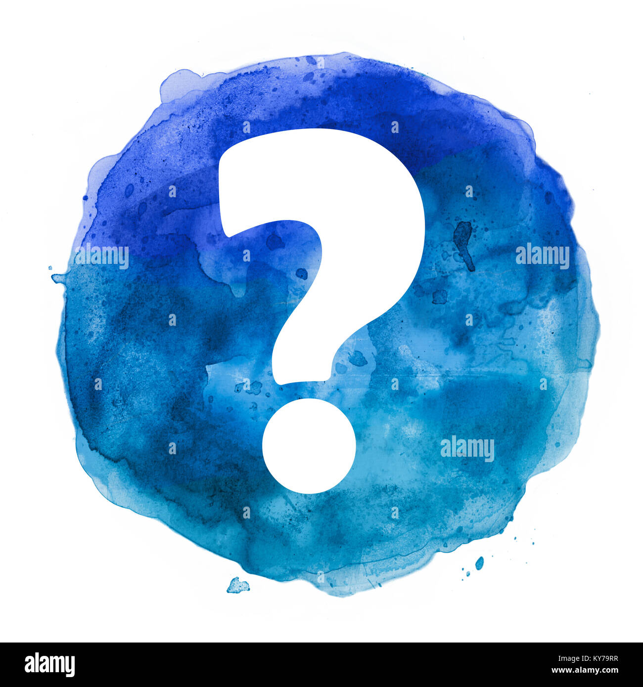 question mark in watercolor blot - Stock Image