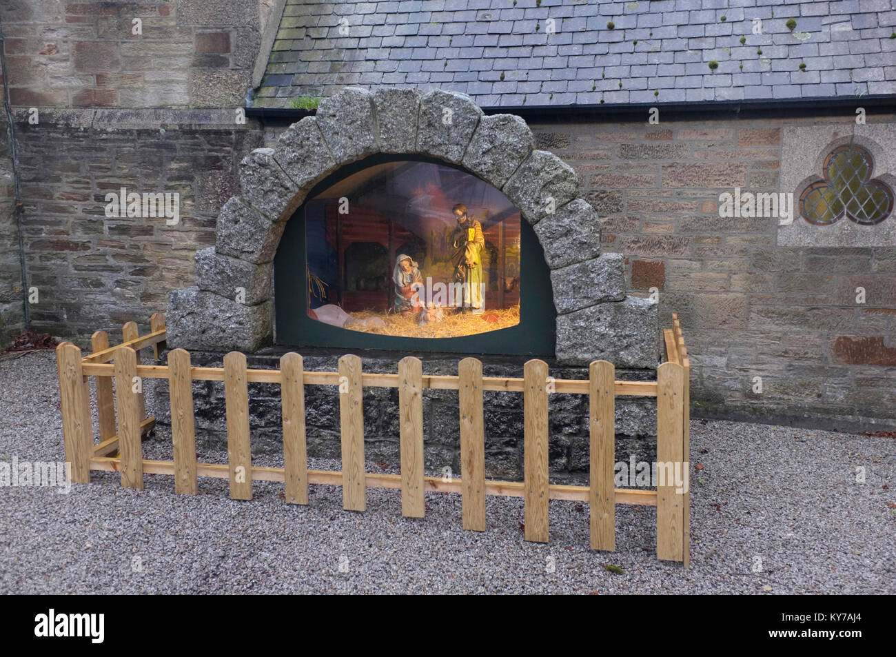 Fenced off Nativity scene in Falmouth, Cornwall. - Stock Image