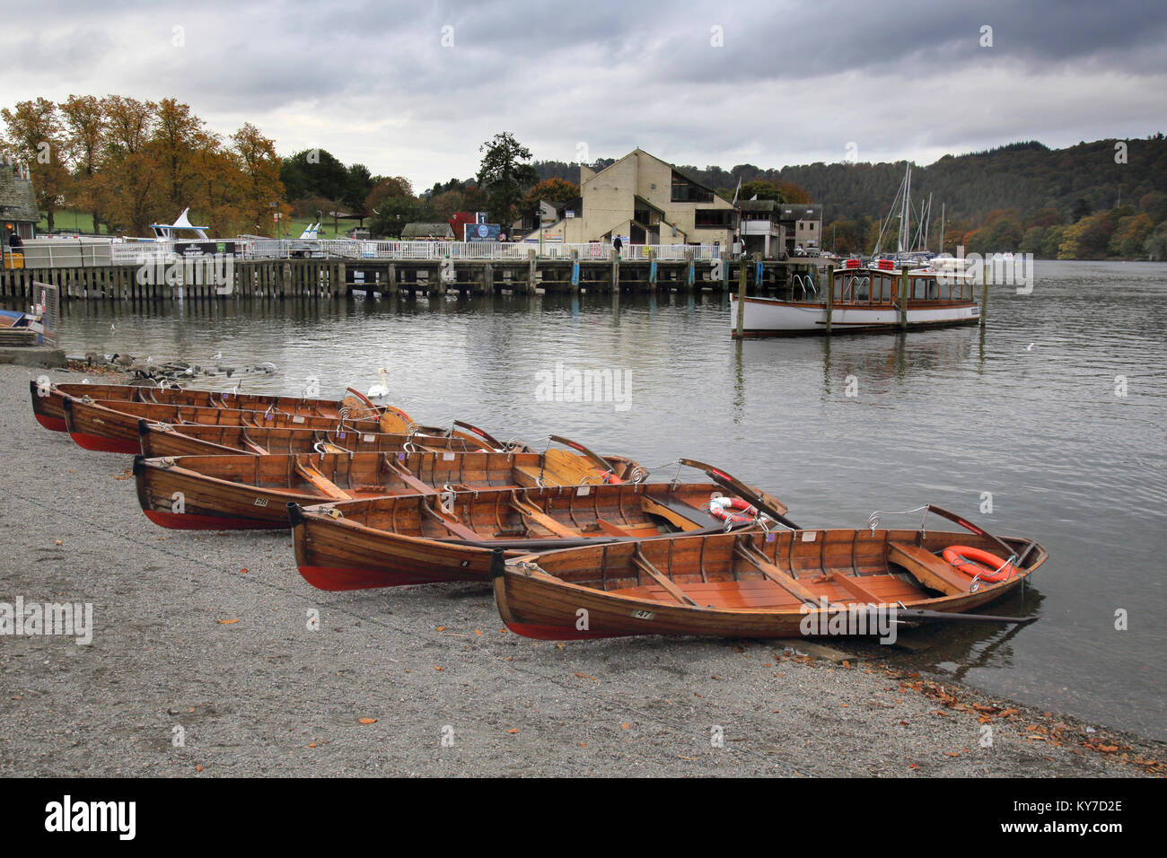 rowing boats in autumn around lake windermere lake district cumbria - Stock Image