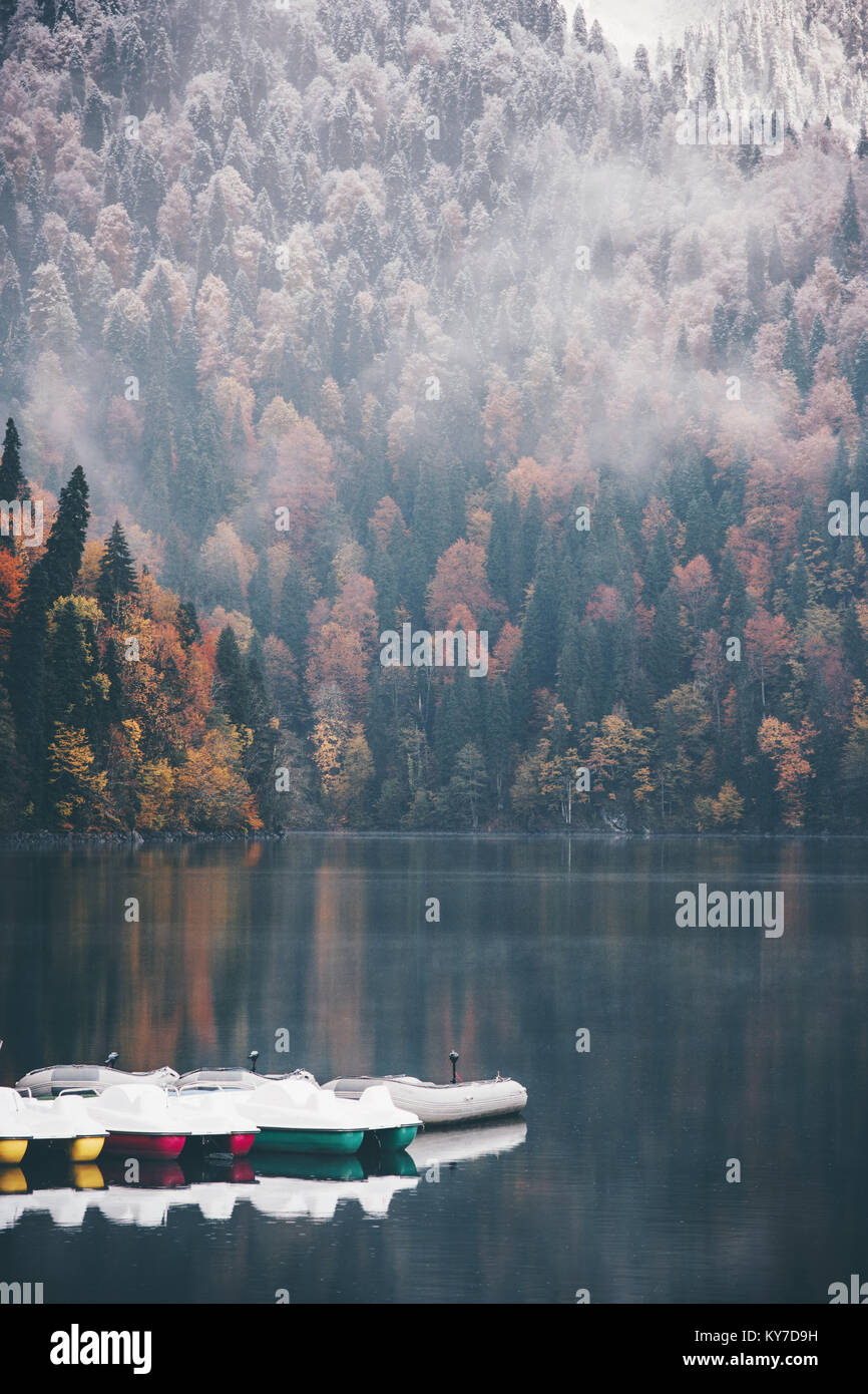 Foggy Coniferous autumn Forest and lake with boats on water landscape Travel concept serene scenic view - Stock Image