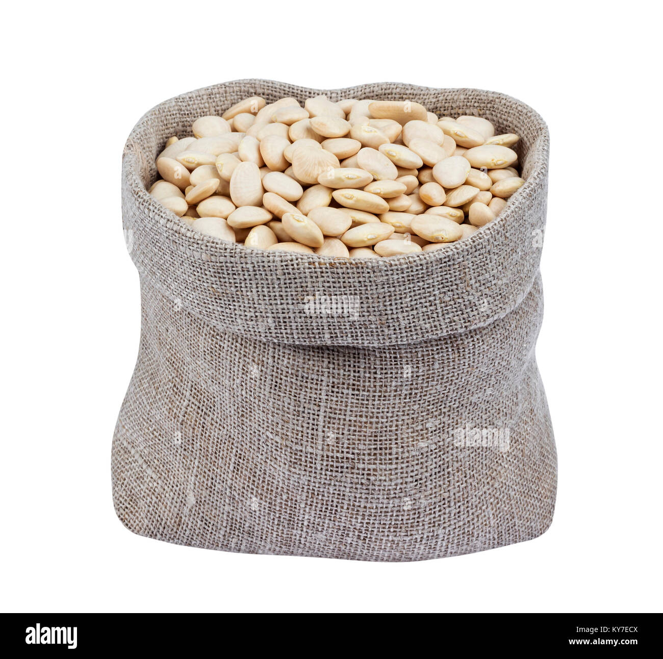 White kidney beans in bag isolated on white - Stock Image