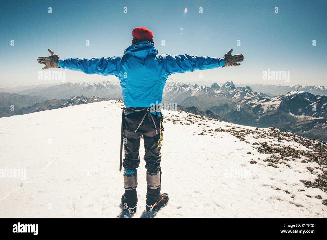 Climber Man on Elbrus mountain east summit Travel Lifestyle success concept adventure active vacations outdoor mountaineering - Stock Image