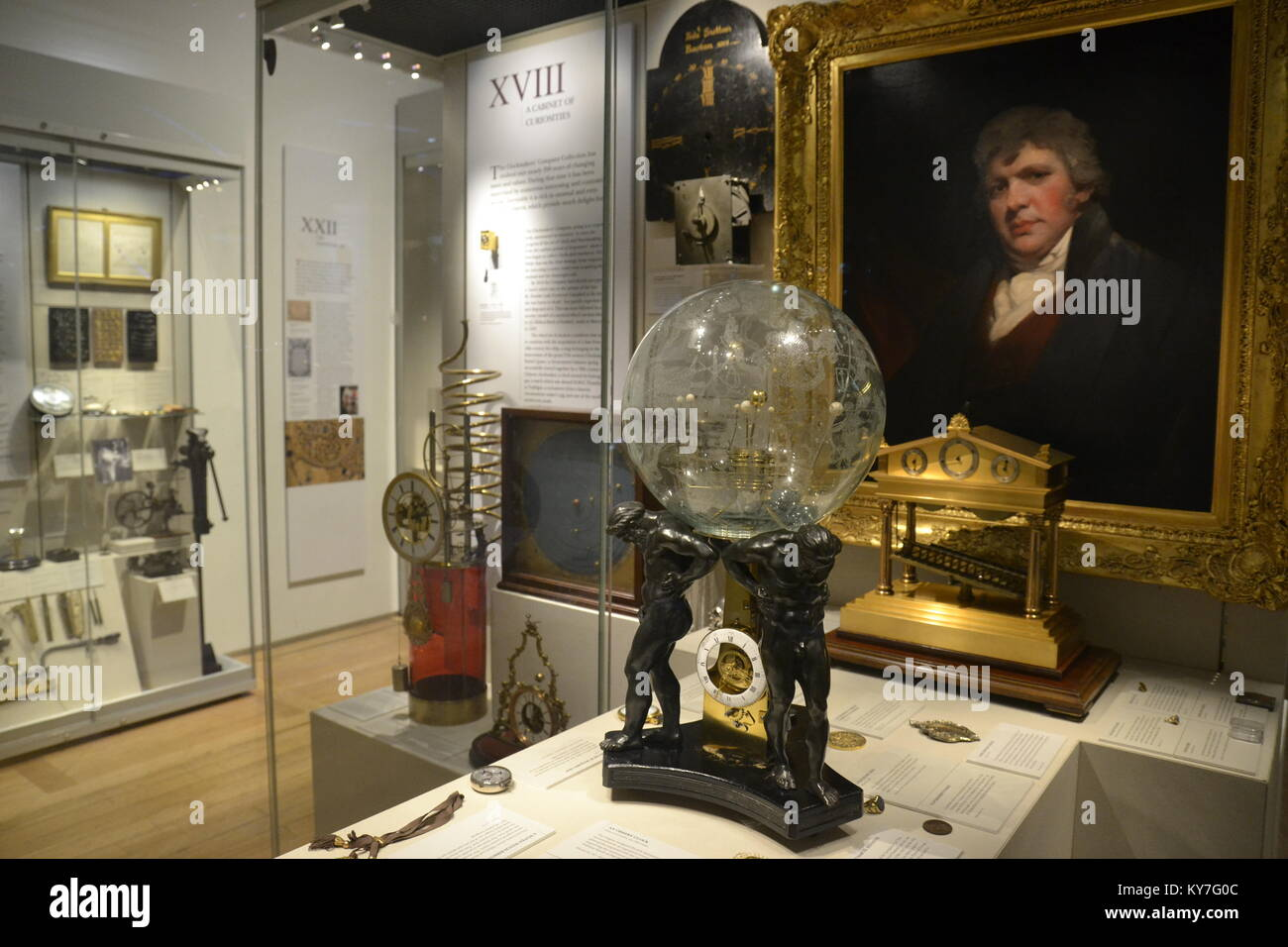 A Cabinet of Curiosities in the Clock and Time Gallery at the Science Museum, London - Stock Image