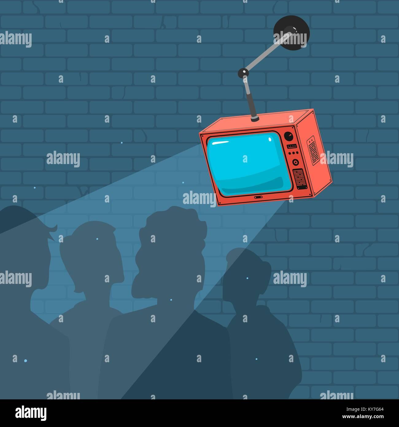 People Watch TV And Propaganda - Stock Vector