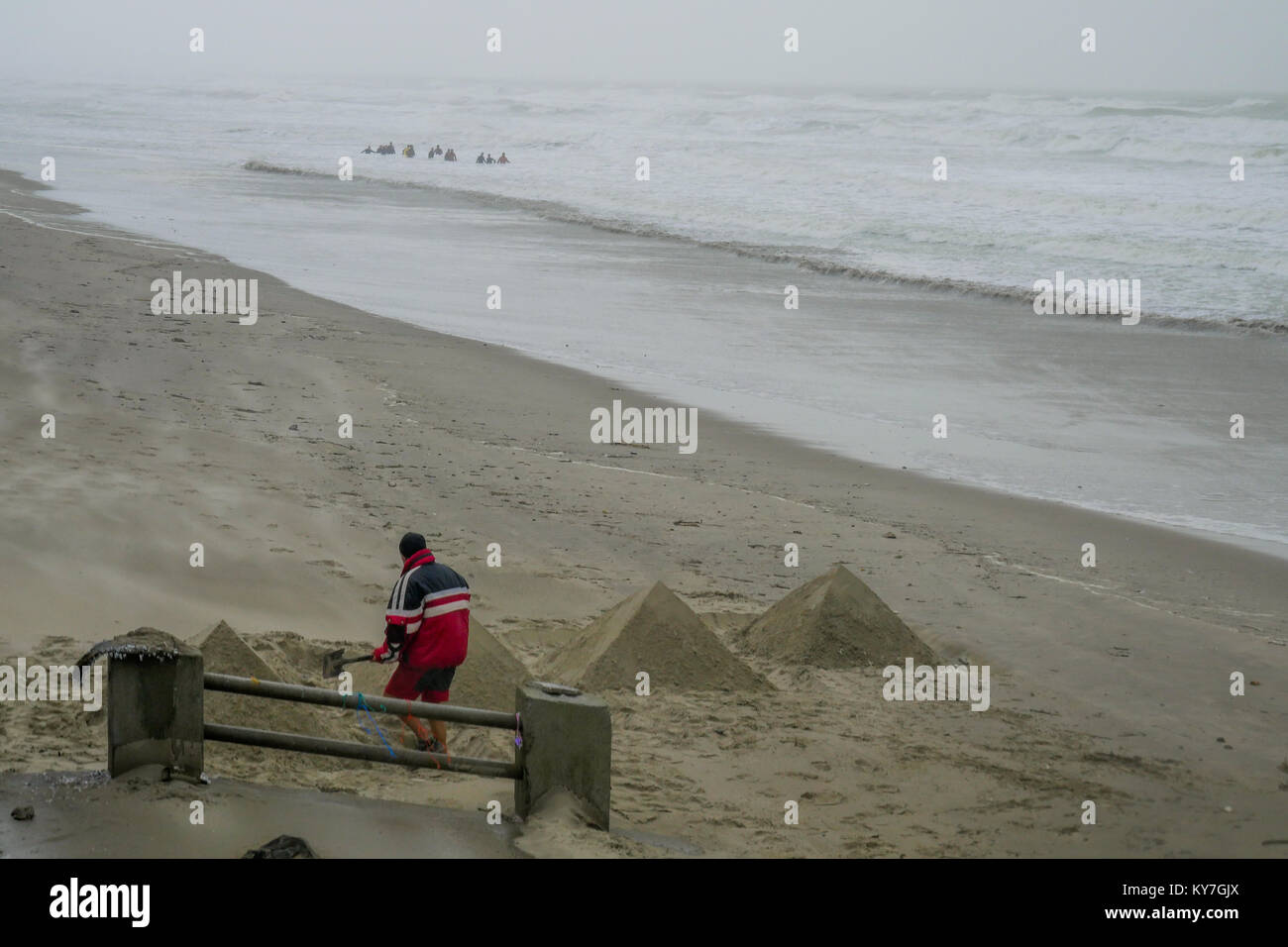 Seaside view at Fort-Mahon-Plage, Somme, Hauts-de-France, France - Stock Image