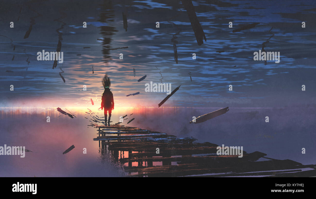 surreal scenery of upside down world with a man on the old bridge looking at sunset light in the sea above the sky, - Stock Image