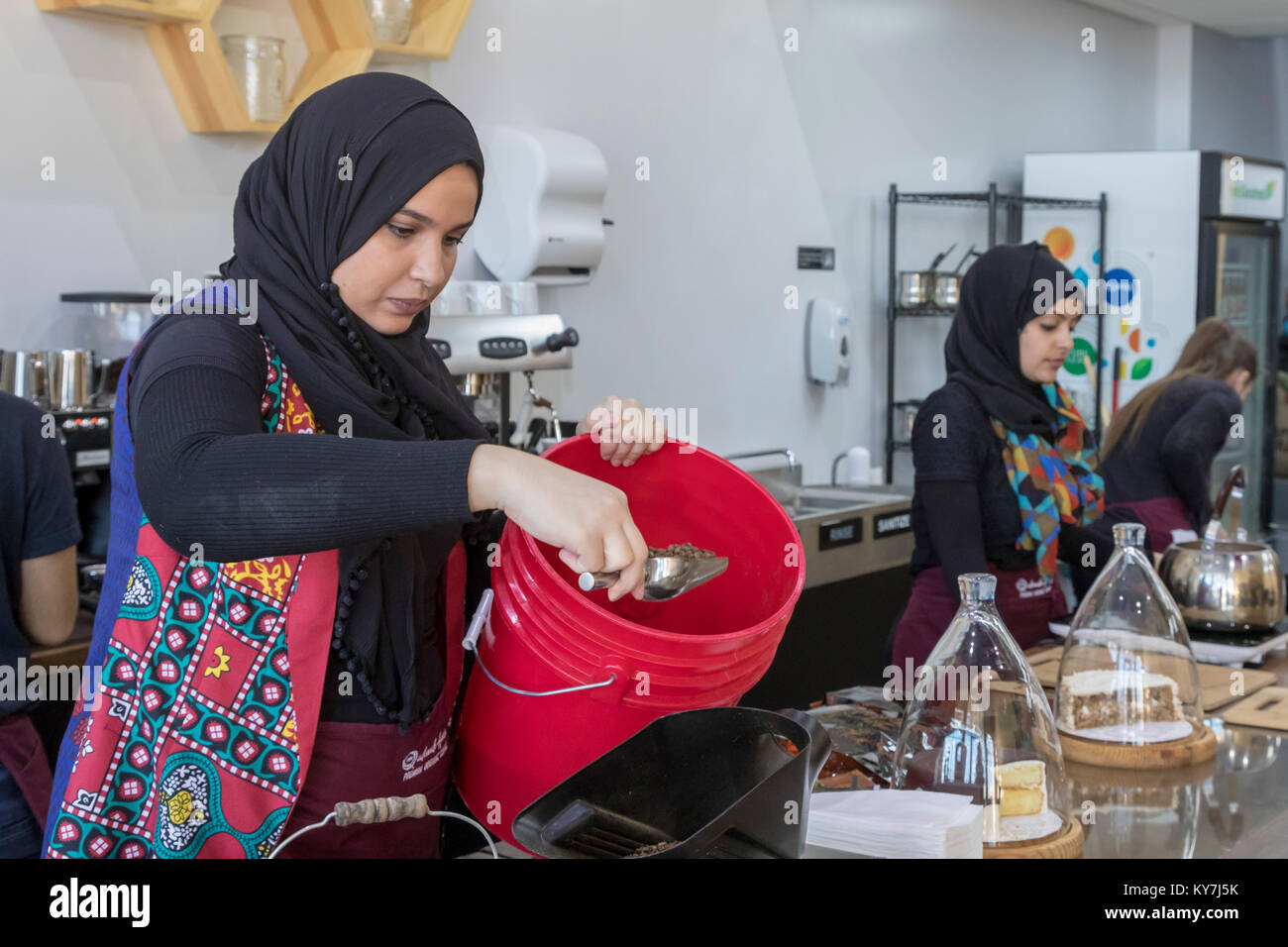 Dearborn, Michigan - A coffee shop called Qahwah House, which imports and serves coffee exclusively from Yemen. - Stock Image