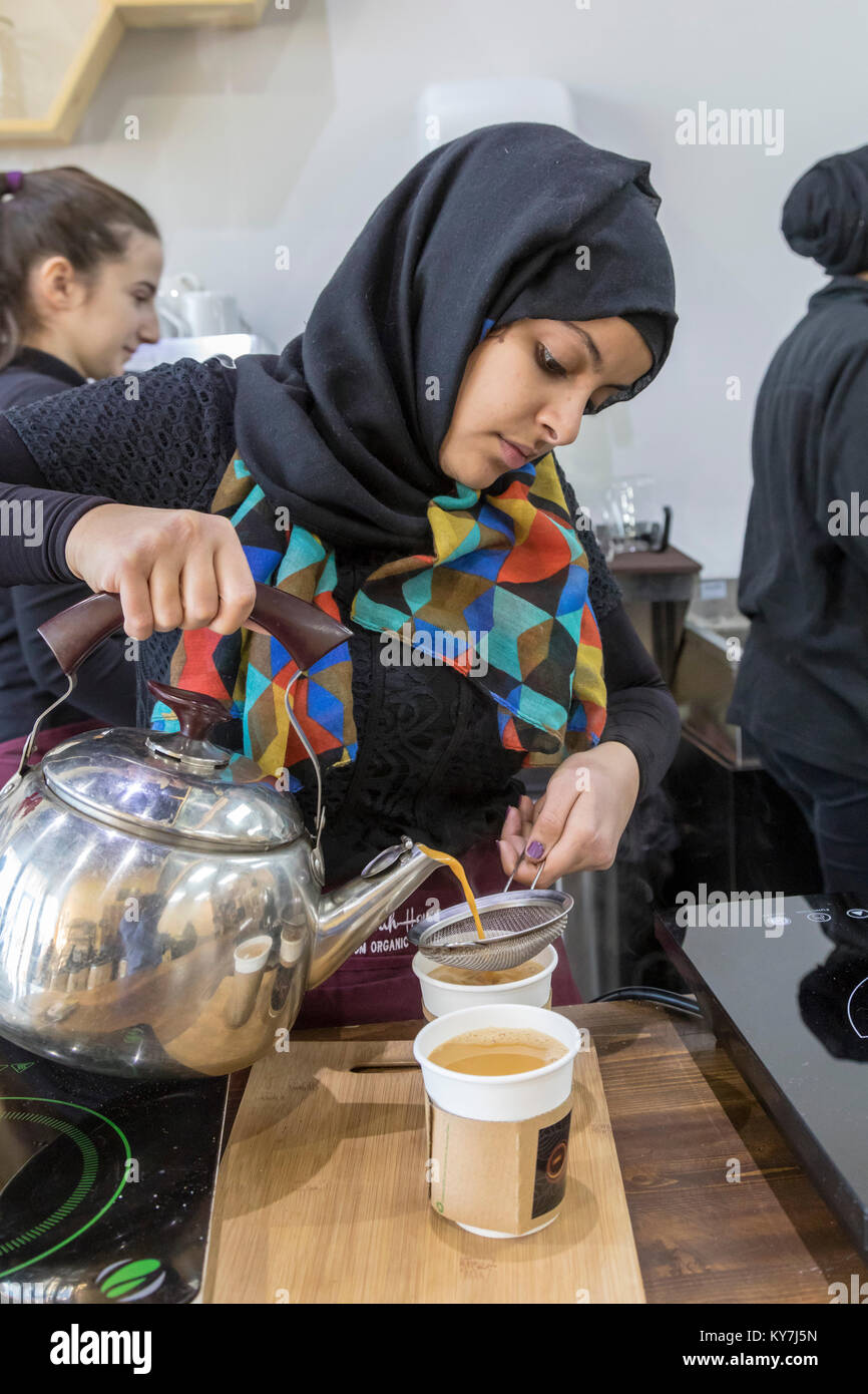 Dearborn, Michigan - A coffee shop called Qahwah House, which imports and serves coffee exclusively from Yemen. Stock Photo