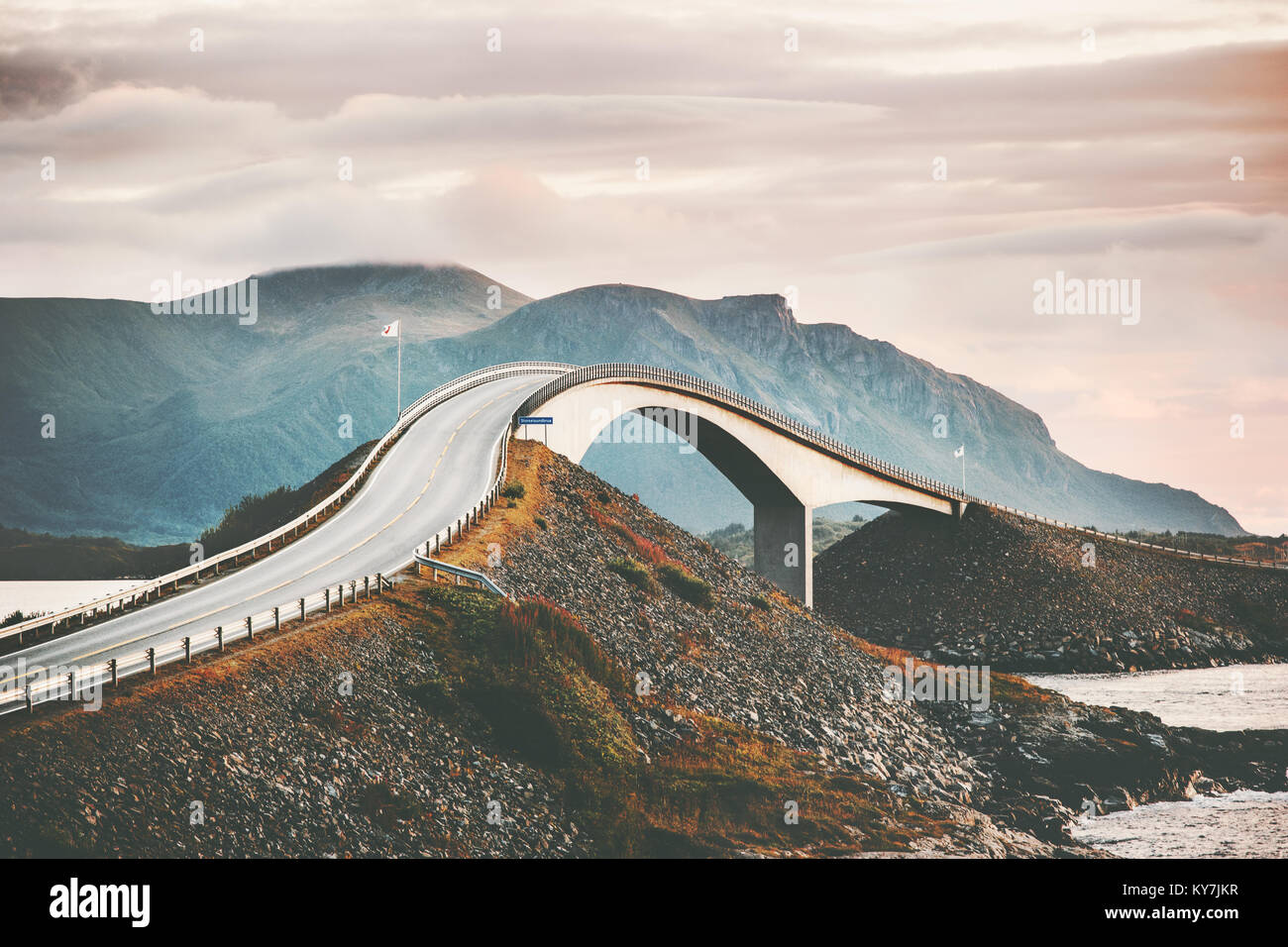 Atlantic road in Norway Storseisundet bridge over ocean scandinavian travel landmarks - Stock Image