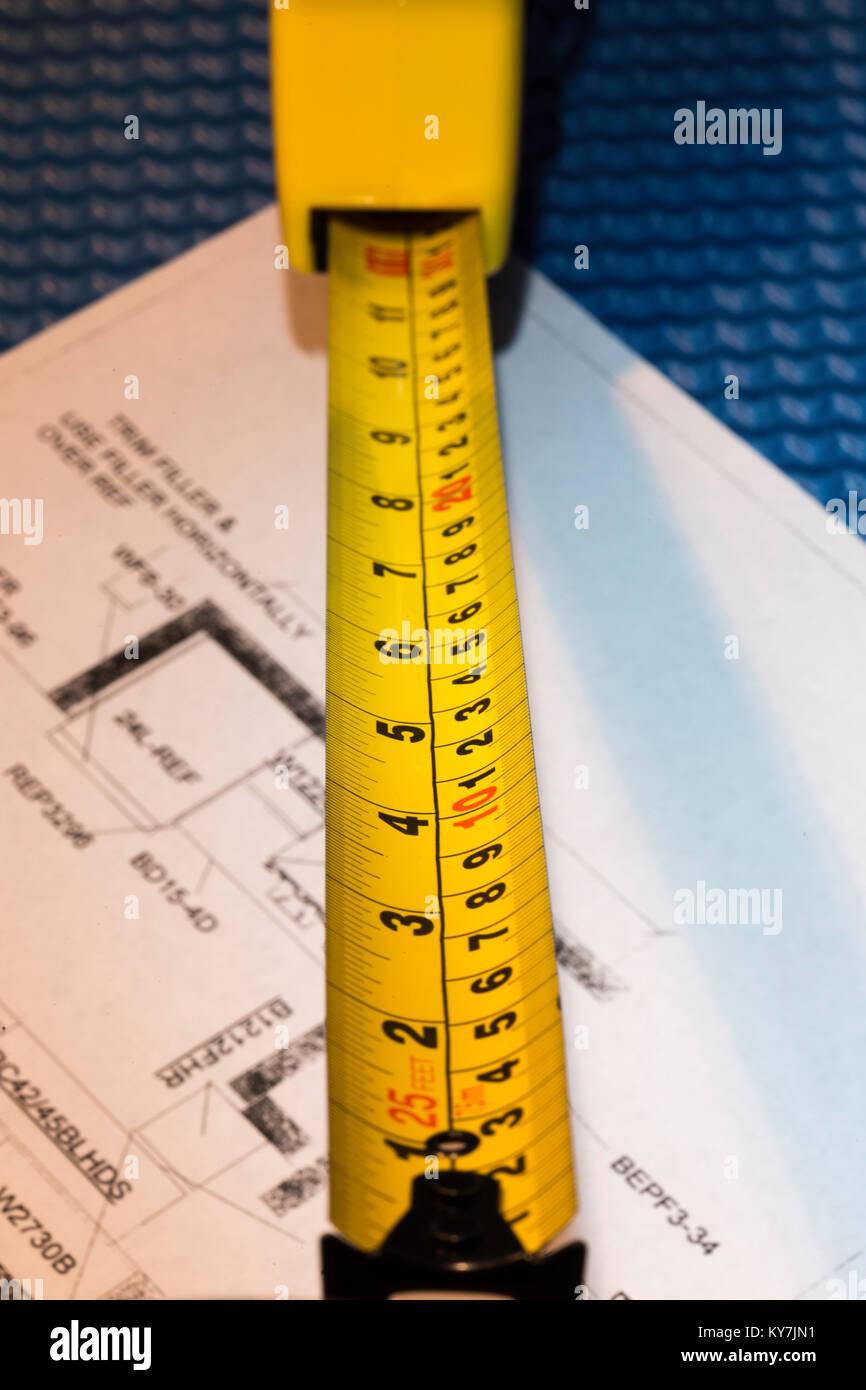 Metal Measuring Tape, USA Stock Photo