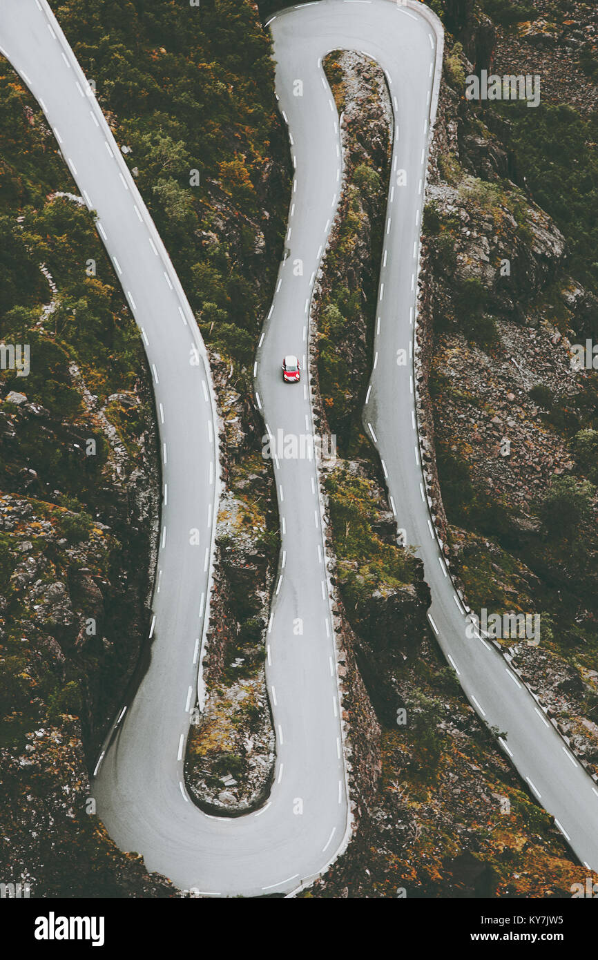 Trollstigen road in Norway serpentine scandinavian travel landmarks aerial view - Stock Image