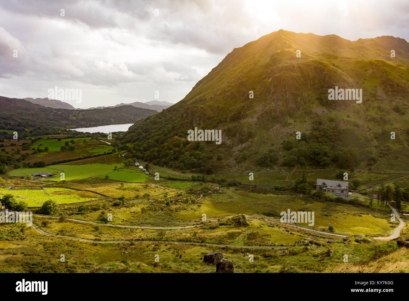 Landscape scene looking South from Snowdonia viewpoint - Stock Image