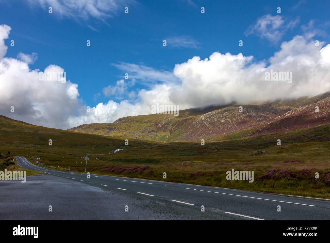 A bracketed landscape photograph taken in Snowdonia National Park looking East from a layby on the A4086 towards Stock Photo
