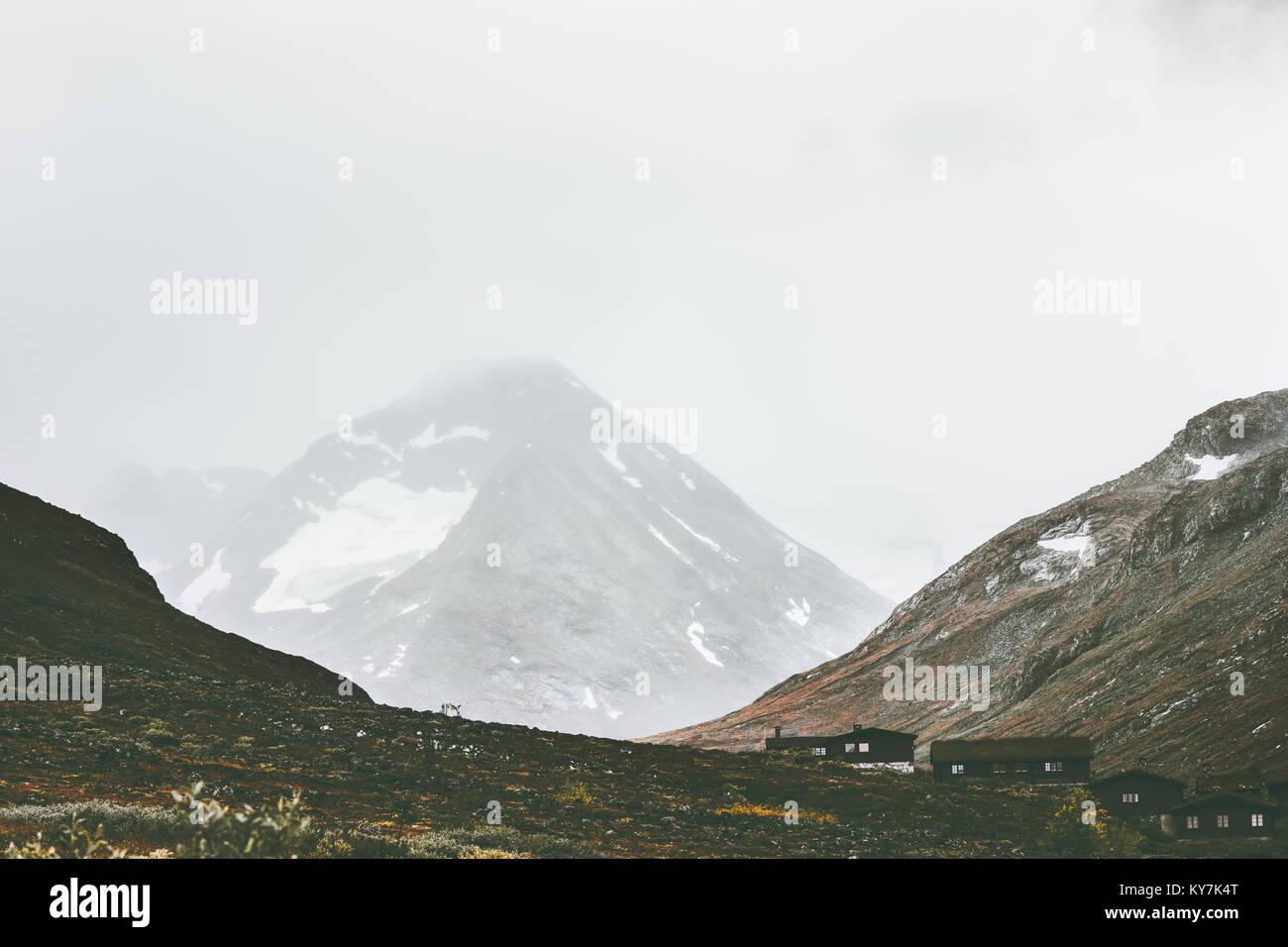 Foggy Mountains Landscape in Jotunheimen national park Norway Travel scandinavian scenery - Stock Image