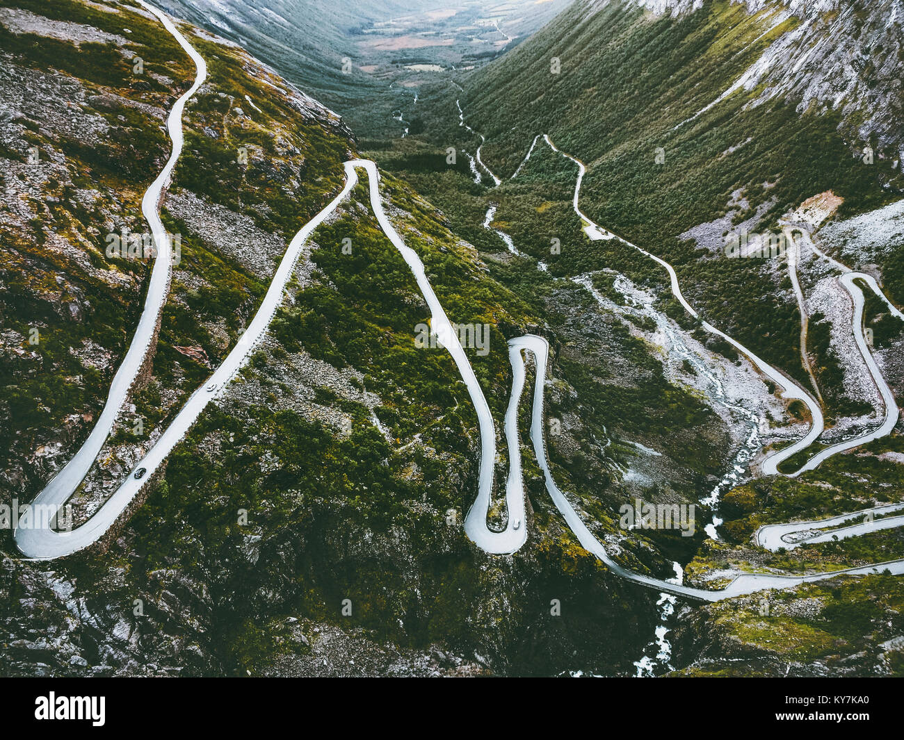 Trollstigen road in Norway serpentine scandinavian travel famous landmarks aerial view - Stock Image