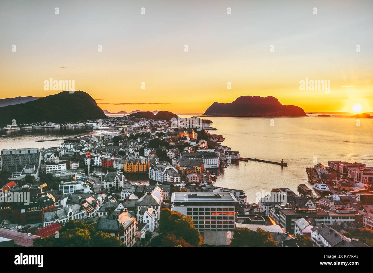 Alesund city in Norway sunset aerial view cityscape scandinavian traditional architecture - Stock Image