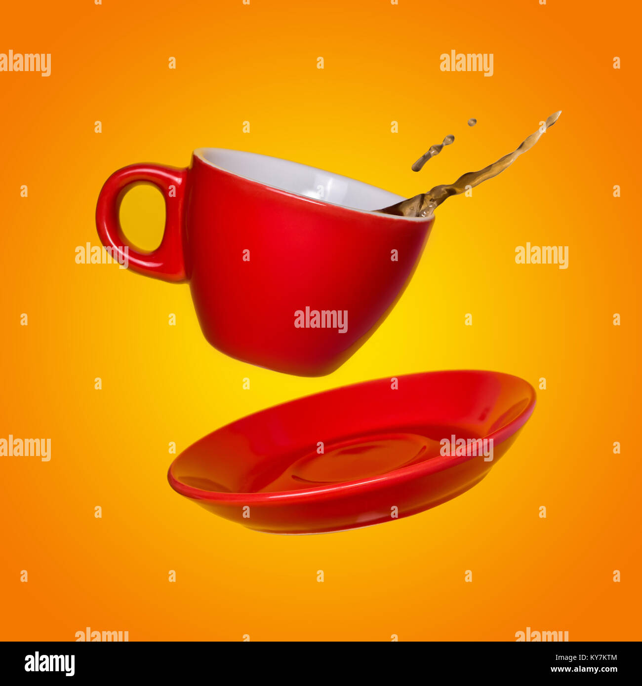 Creative Surreal Design With A Red Coffee Cup And Saucer On A Yellow Stock Photo Alamy