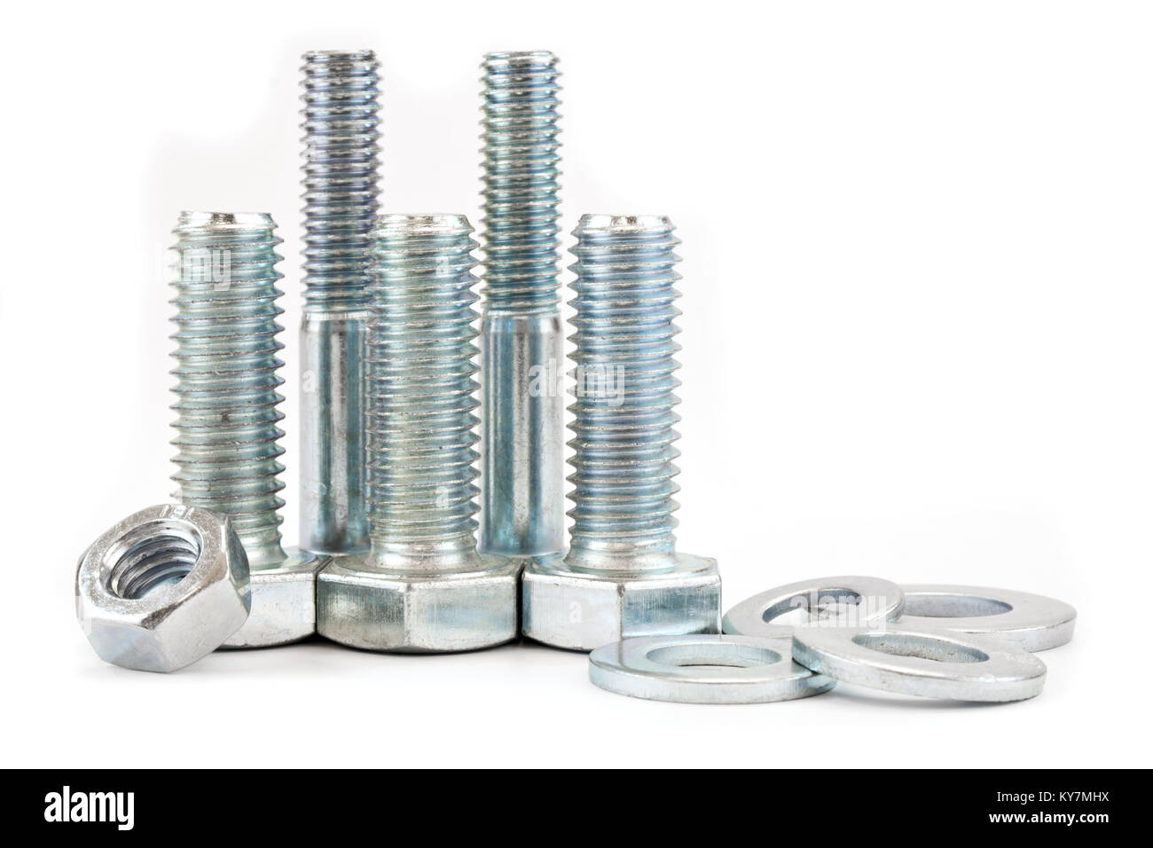 Many different bolts isolated on white background - Stock Image