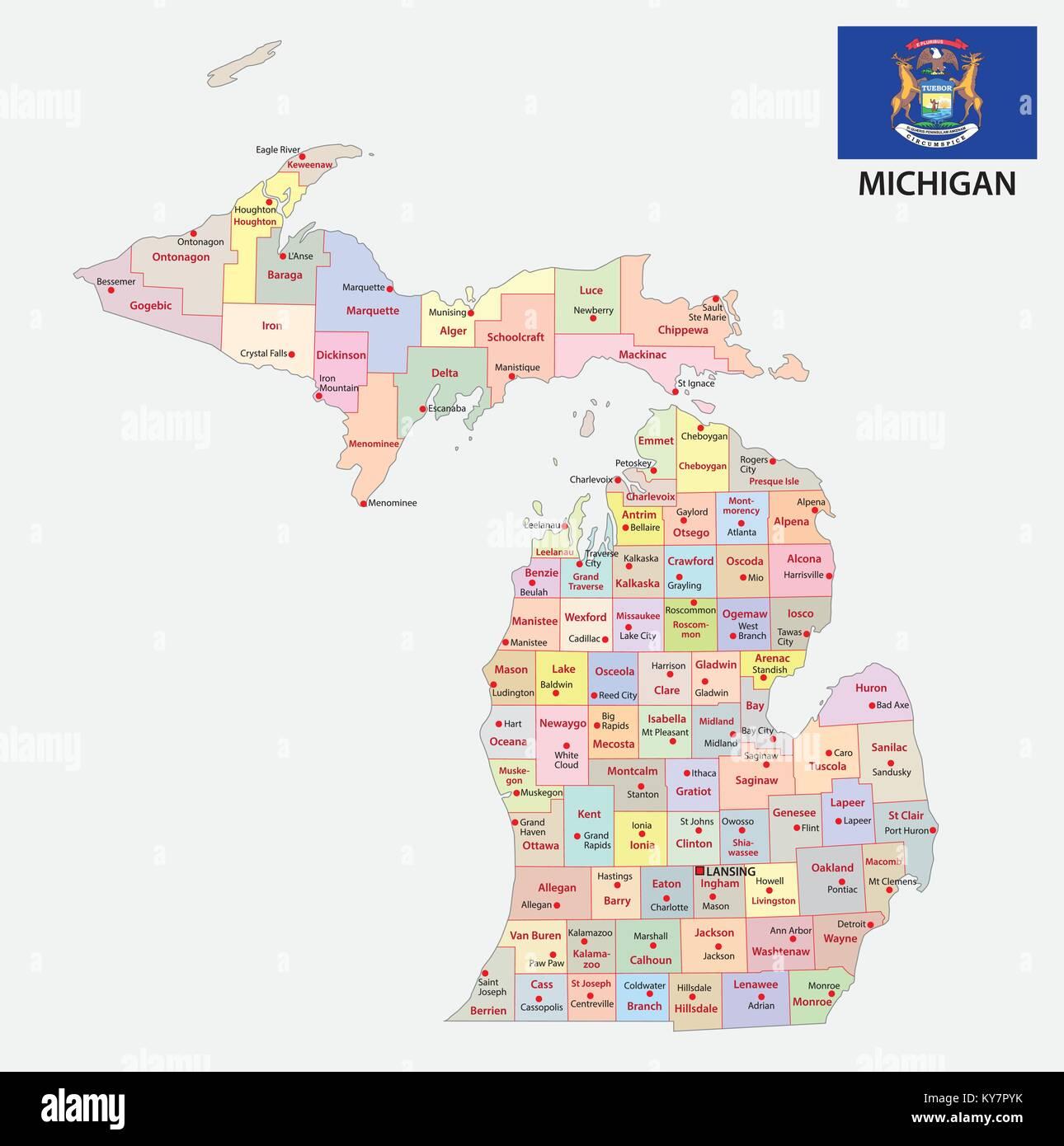 Map State Michigan American Flag Stock Photos & Map State Michigan ...