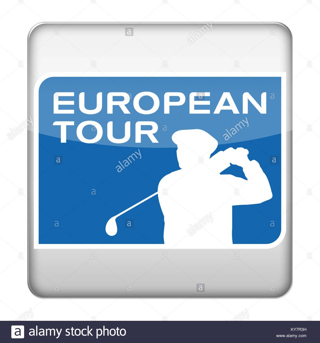 PGA European Tour Golf icon logo - Stock Image