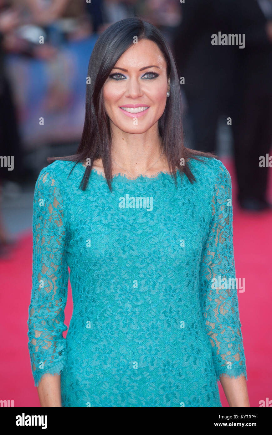 Linzi Stoppard attends the World Premiere of 'What We Did On Our Holiday' at the  Odeon West End  London - Stock Image