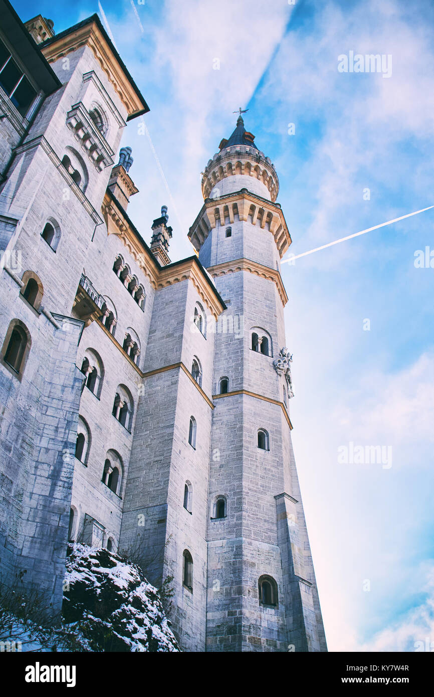 Tower of the fairytale Neuschwanstein castle in Germany - Stock Image