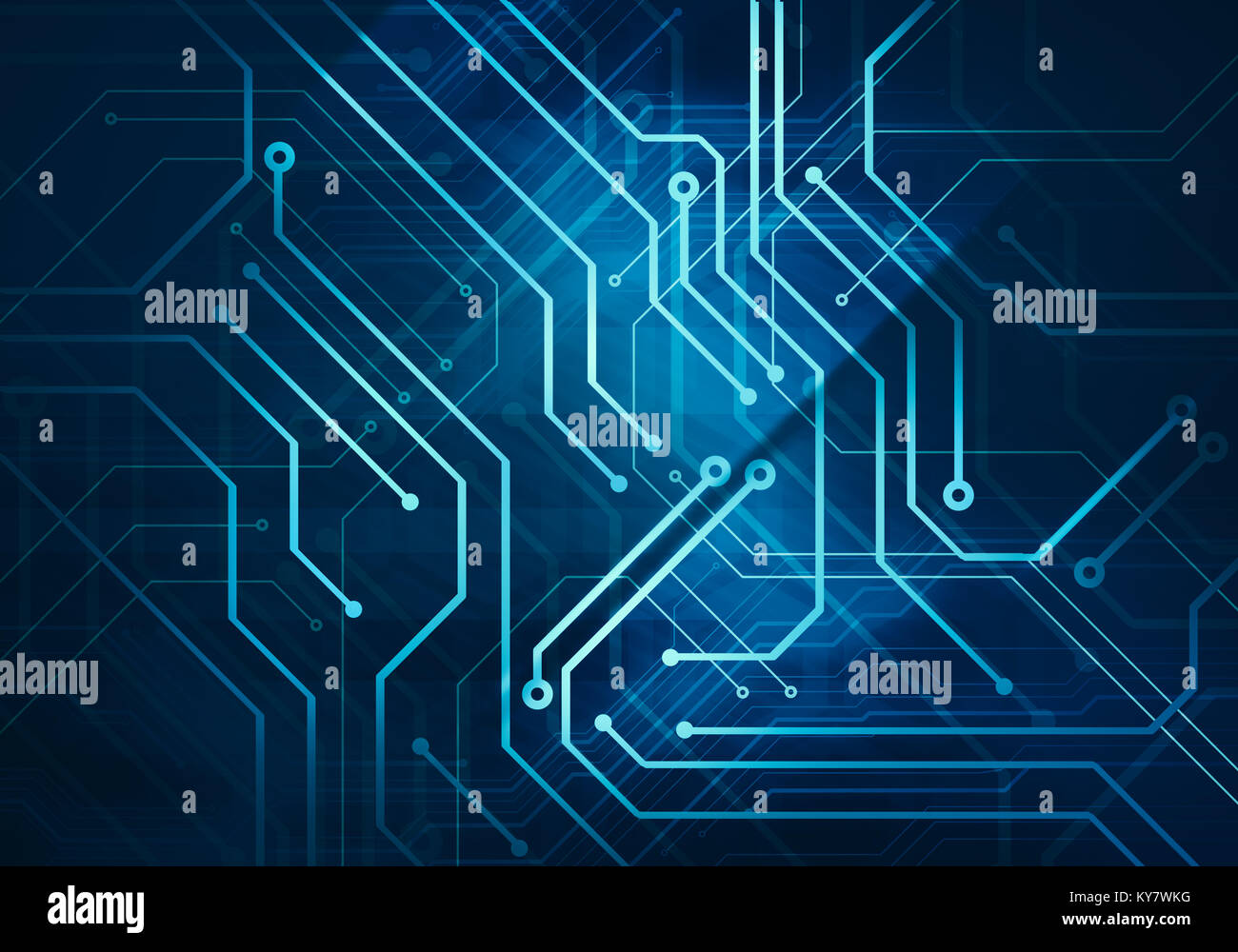 Digital conceptual image circuit microchip on dark blue background on
