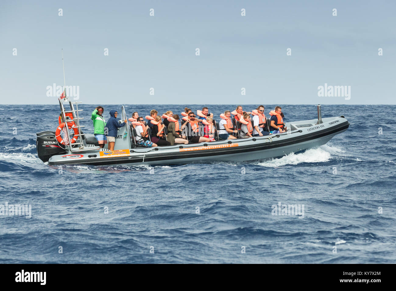 Funchal, Portugal - August 24, 2017: Tourists are in a fast motor boat during whale and dolphins watching trip - Stock Image