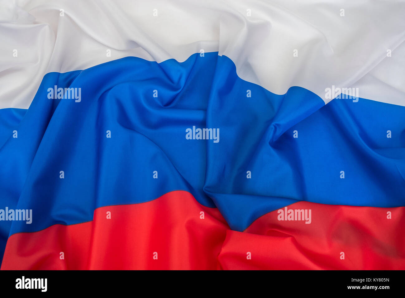 Large Ruffled Russian Federation flag. - Stock Image