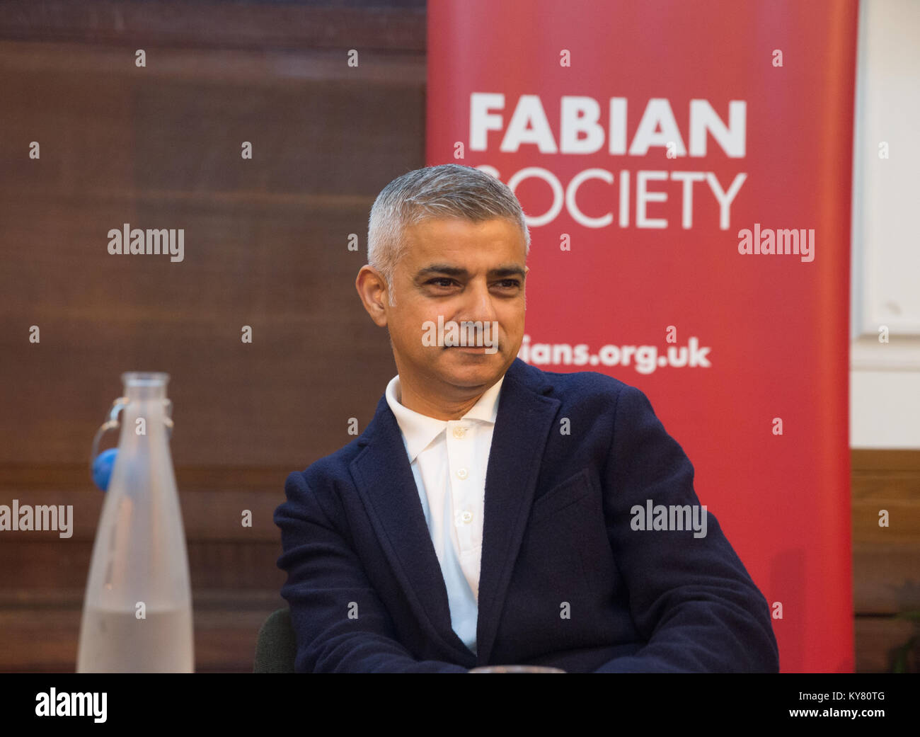 Mayor of London, Sadiq Khan, addresses the Fabian Society conference in Central London - Stock Image