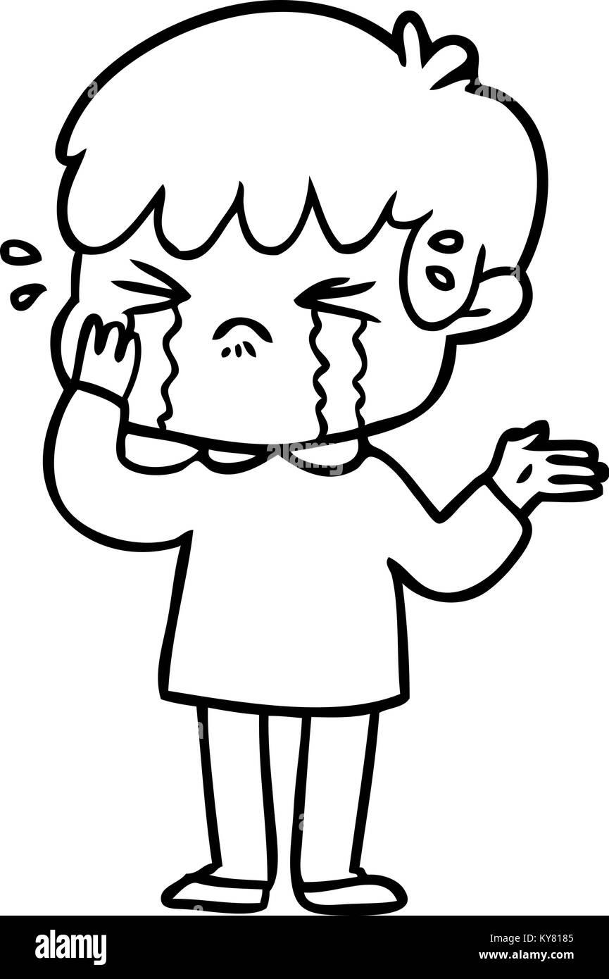 Cartoon boy crying stock image