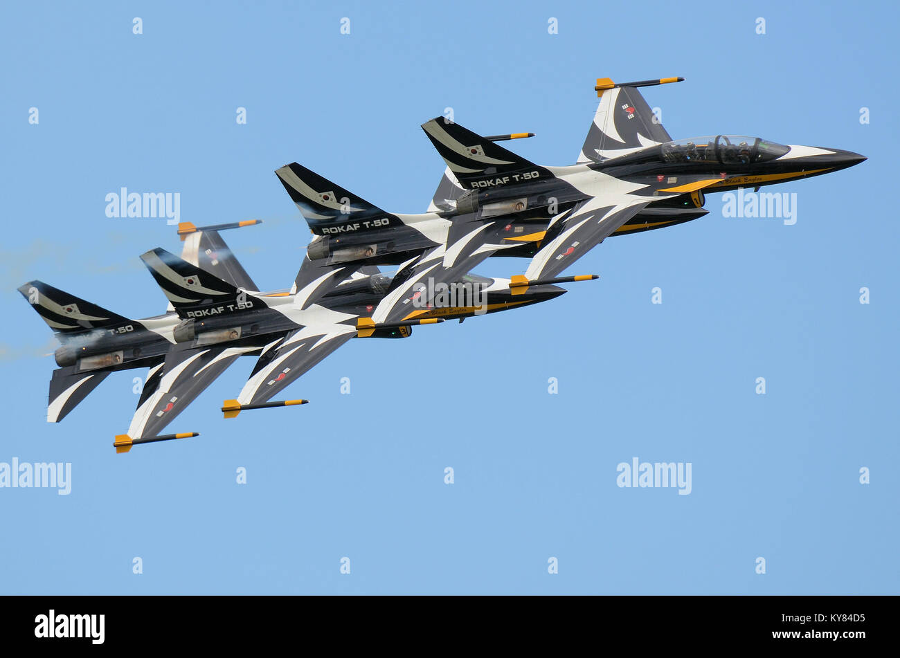 Black Eagles Aerobatic Team of Republic of Korea Air Force. The 53rd Air Demonstration Group. Flying the Korean - Stock Image