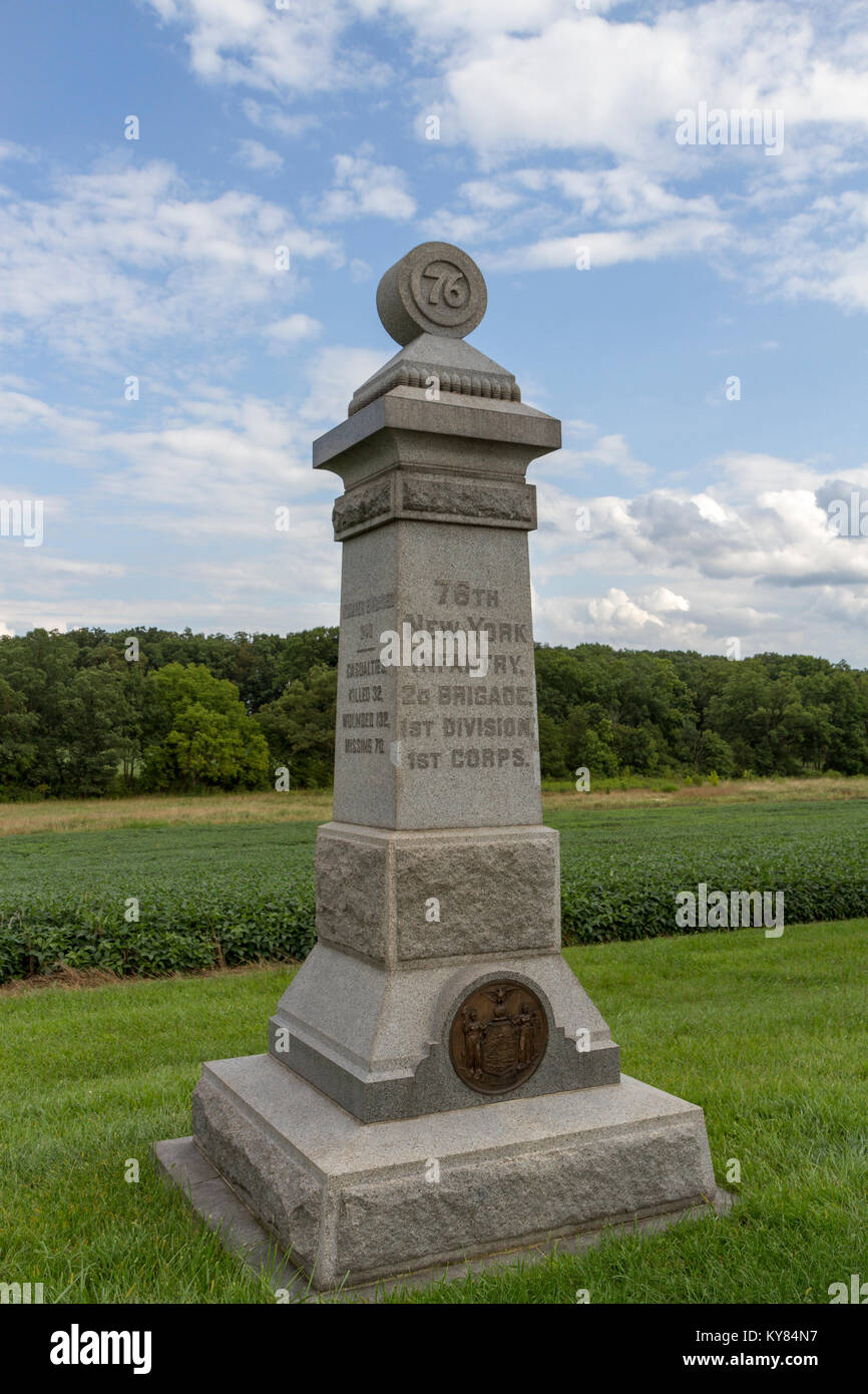 The 76th New York Infantry Monument, Gettysburg National Military Park, Pennsylvania, United States. Stock Photo