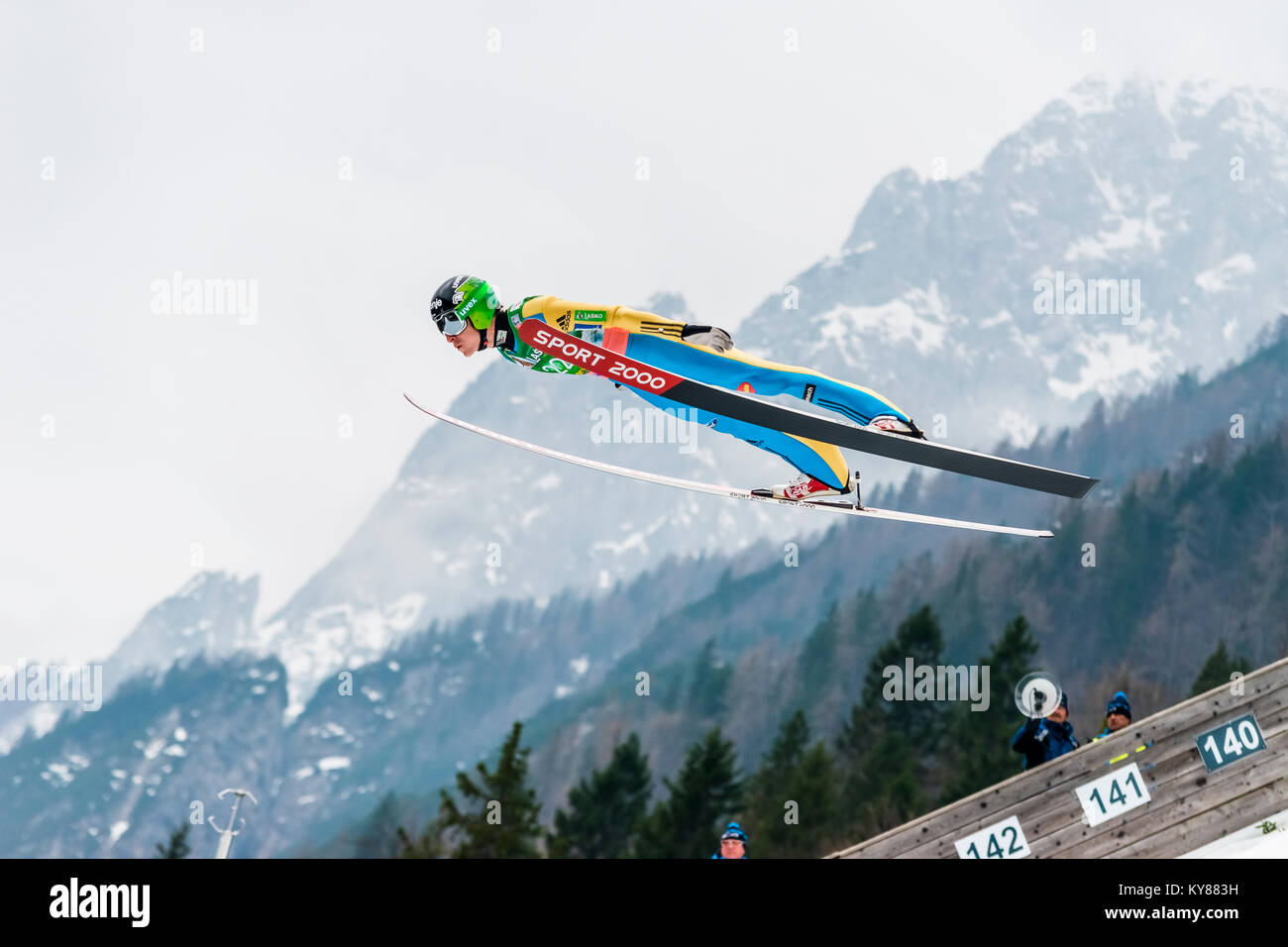 Flying Jurij Tepeš in Planica 2017, Slovenia, FIS Ski Jumping World Cup finals - Stock Image