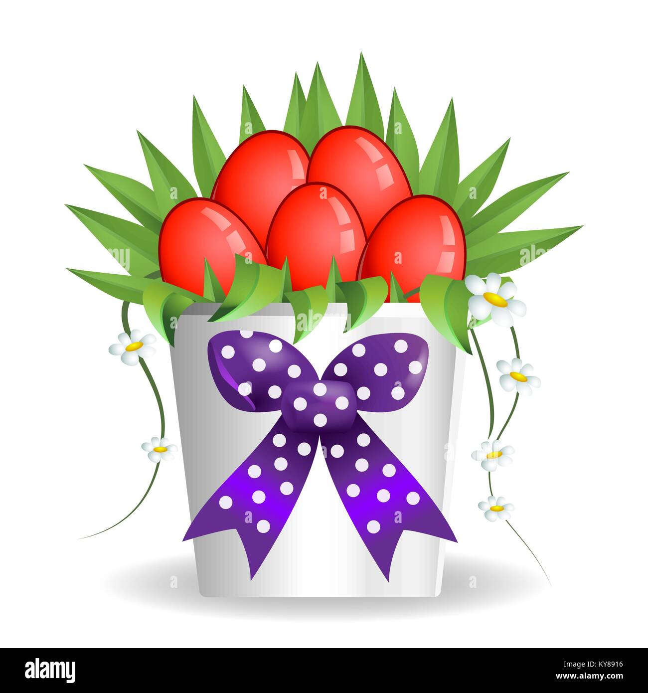 Easter bouquet box vase present with red eggs and daisy flowers - Stock Vector