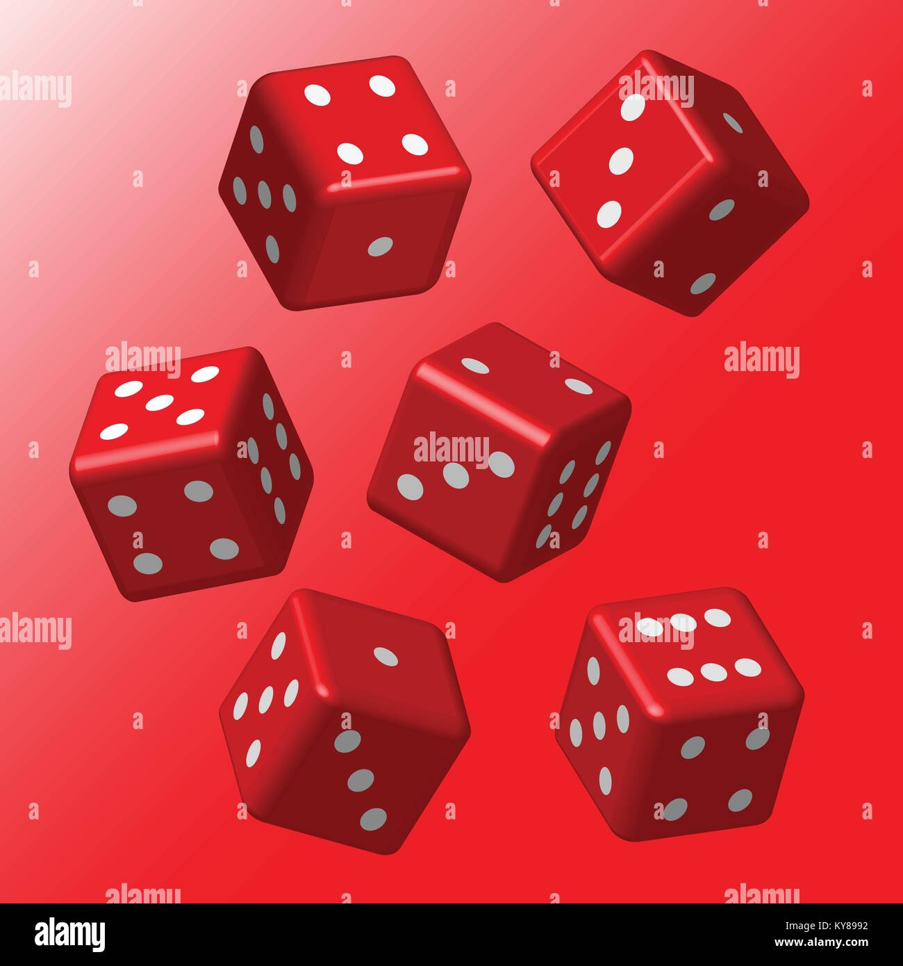 Red Dice with White Points - Stock Image