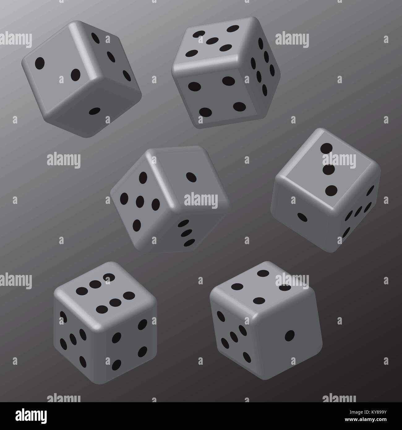 Grey Dice with Black Points - Stock Image