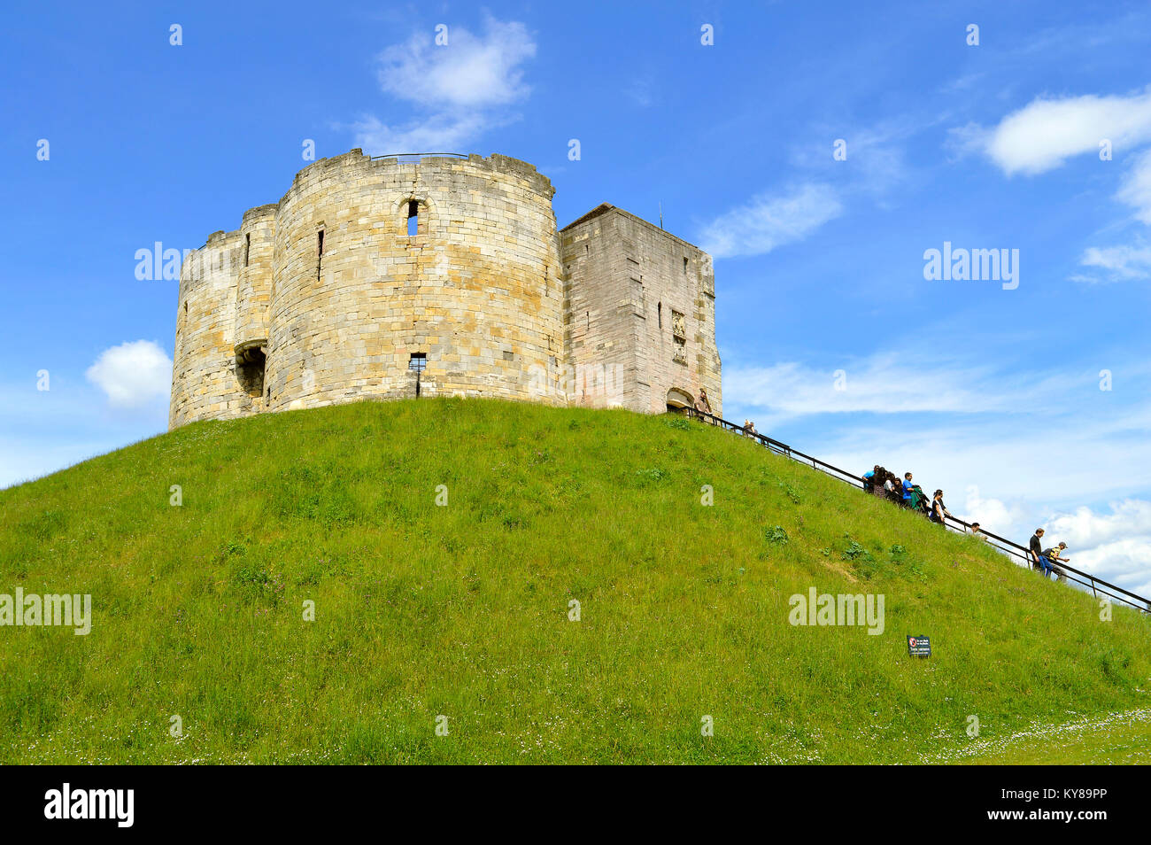 The historical York Castle in the city of York commonly referred to as Clifford's Tower - Stock Image