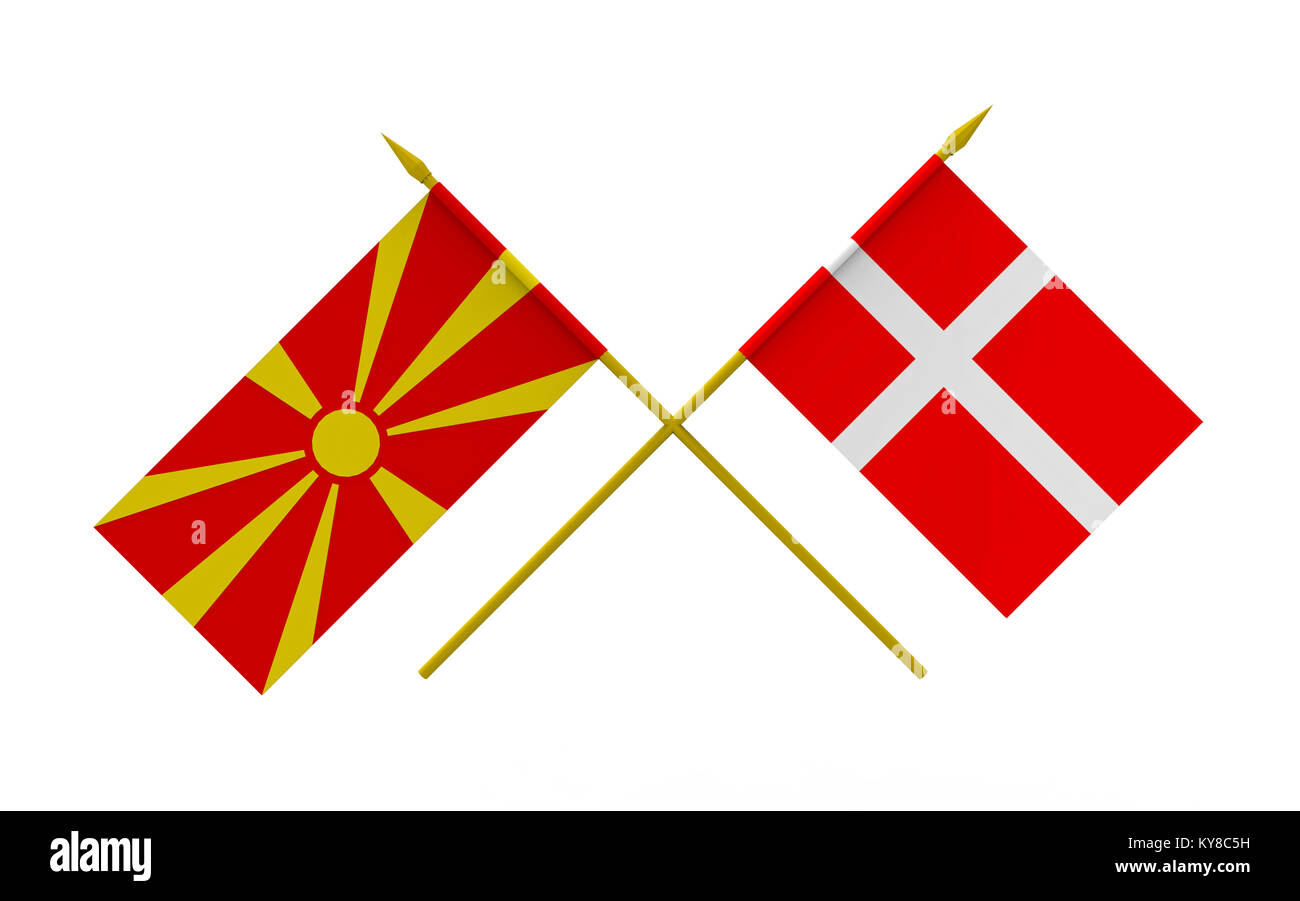 Flags of Denmark and Macedonia, 3d render, isolated on white - Stock Image