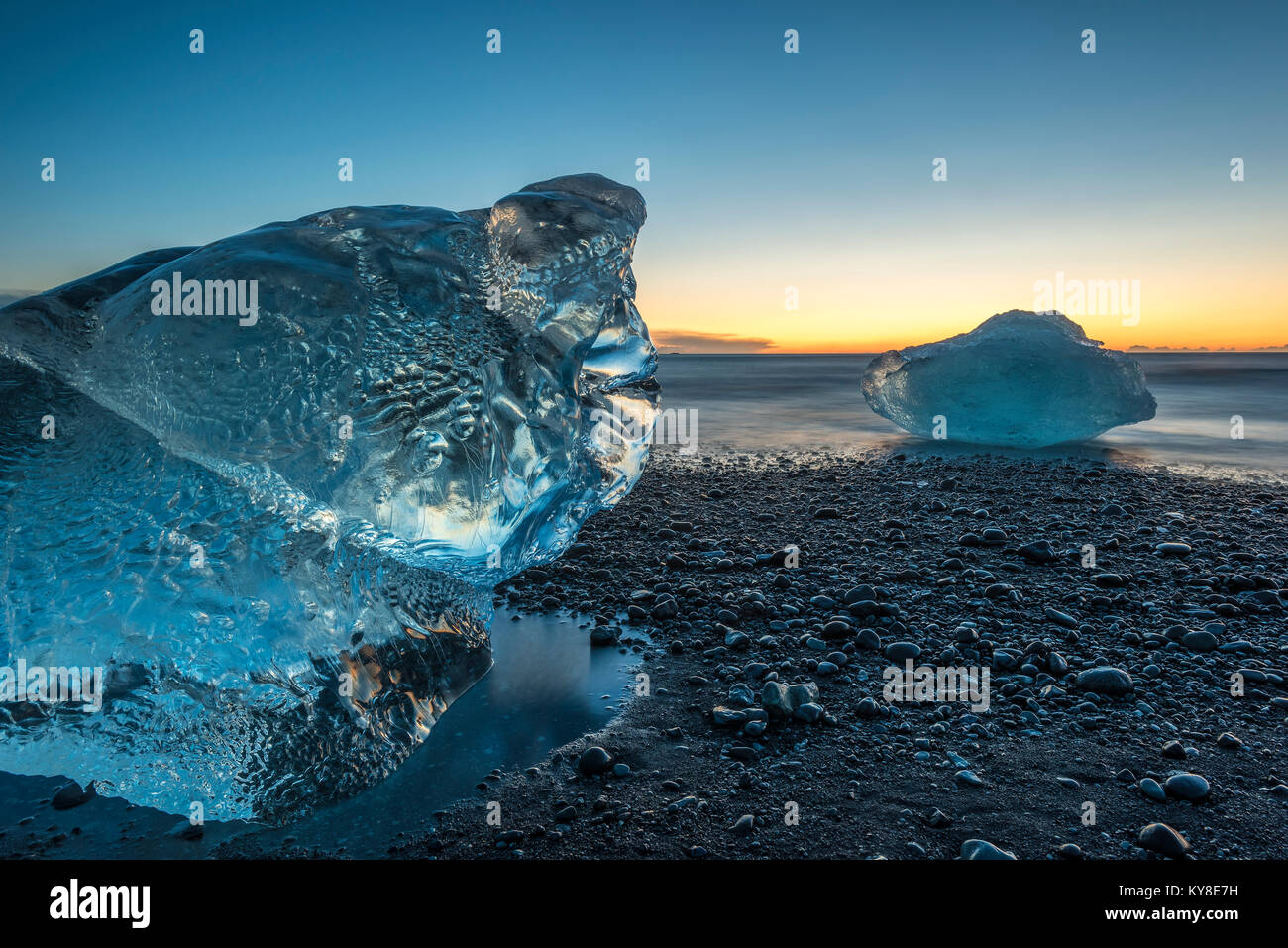 Sunrise, Ice Beach. Jokulsarlon Glacial Lagoon. Iceland. Mid-November, by Dominique Braud/Dembinsky Photo AssocStock Photo