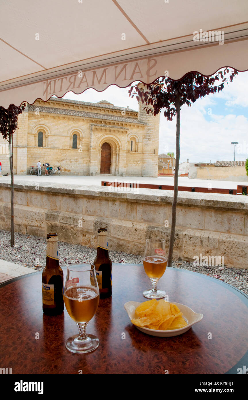 Two glasses of beer with chips in a terrace. Fromista, Palencia province, Spain. - Stock Image
