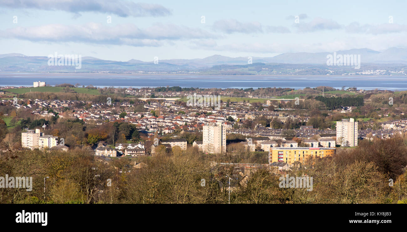Lancaster, England, UK - November 12, 2017: The cityscape of Lancaster, with Morecambe Bay and the mountains of Stock Photo