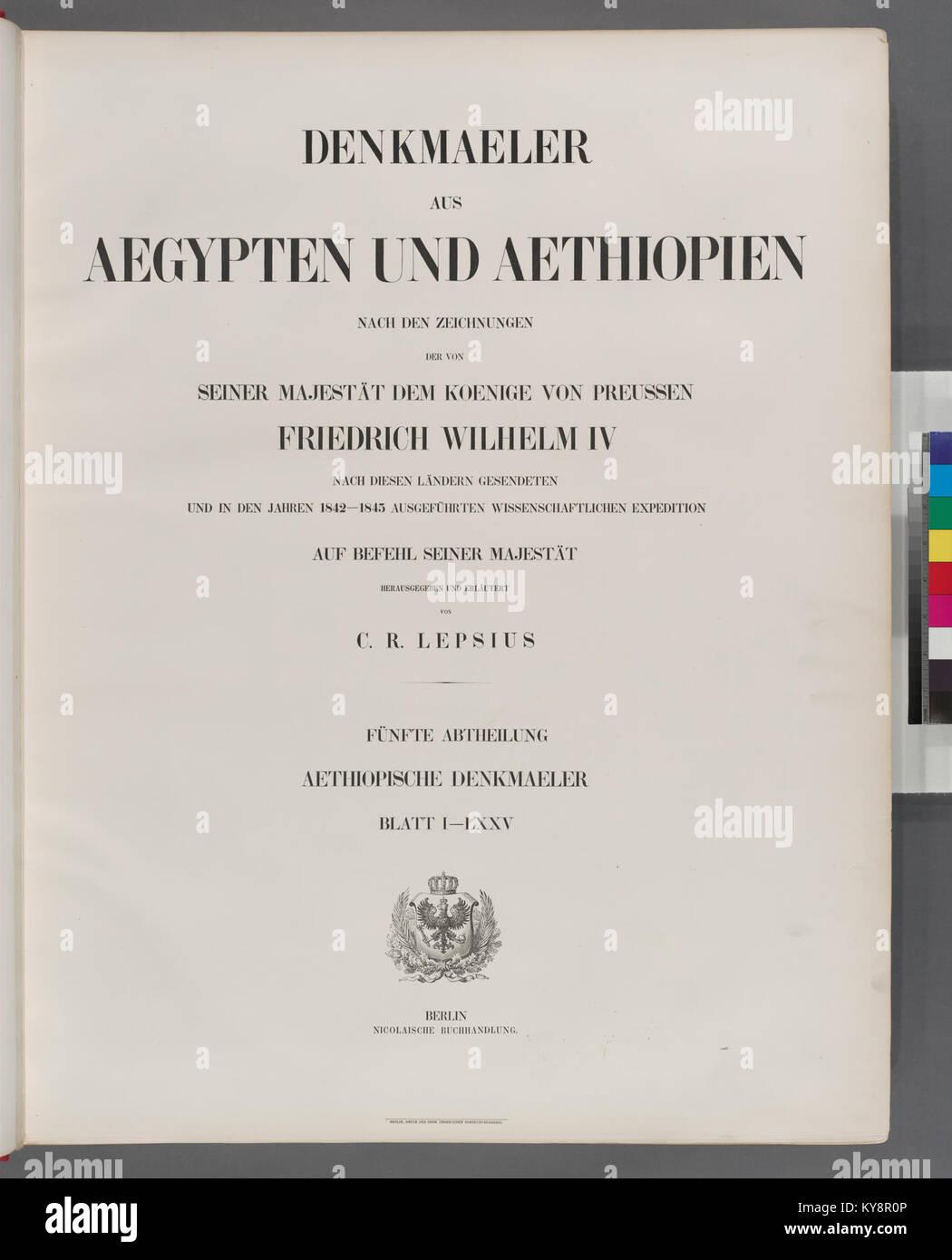Title page) Denkmaeler aus Aegypten und Aethiopien Fünfte Abtheilung- Aethiopische Denkmaeler. Blatt I-LXXV - Stock Image