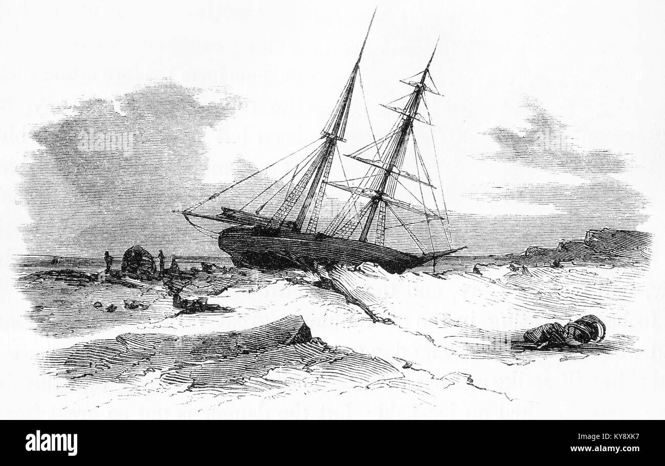 Engraving of a sailing ship stuck in the ice during an Arctic winter. From an original engraving in the Harper's - Stock Image