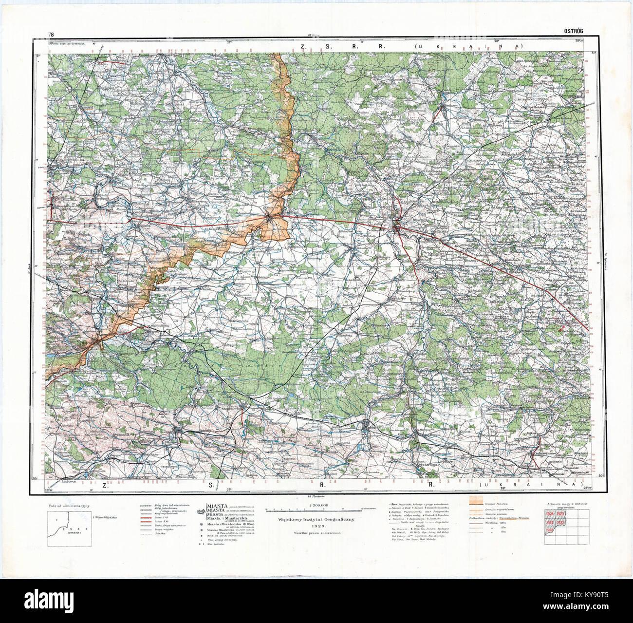 ostrog mapa WIG Mapa Operacyjna Polski   78 Ostróg 1929 Stock Photo: 171687269  ostrog mapa