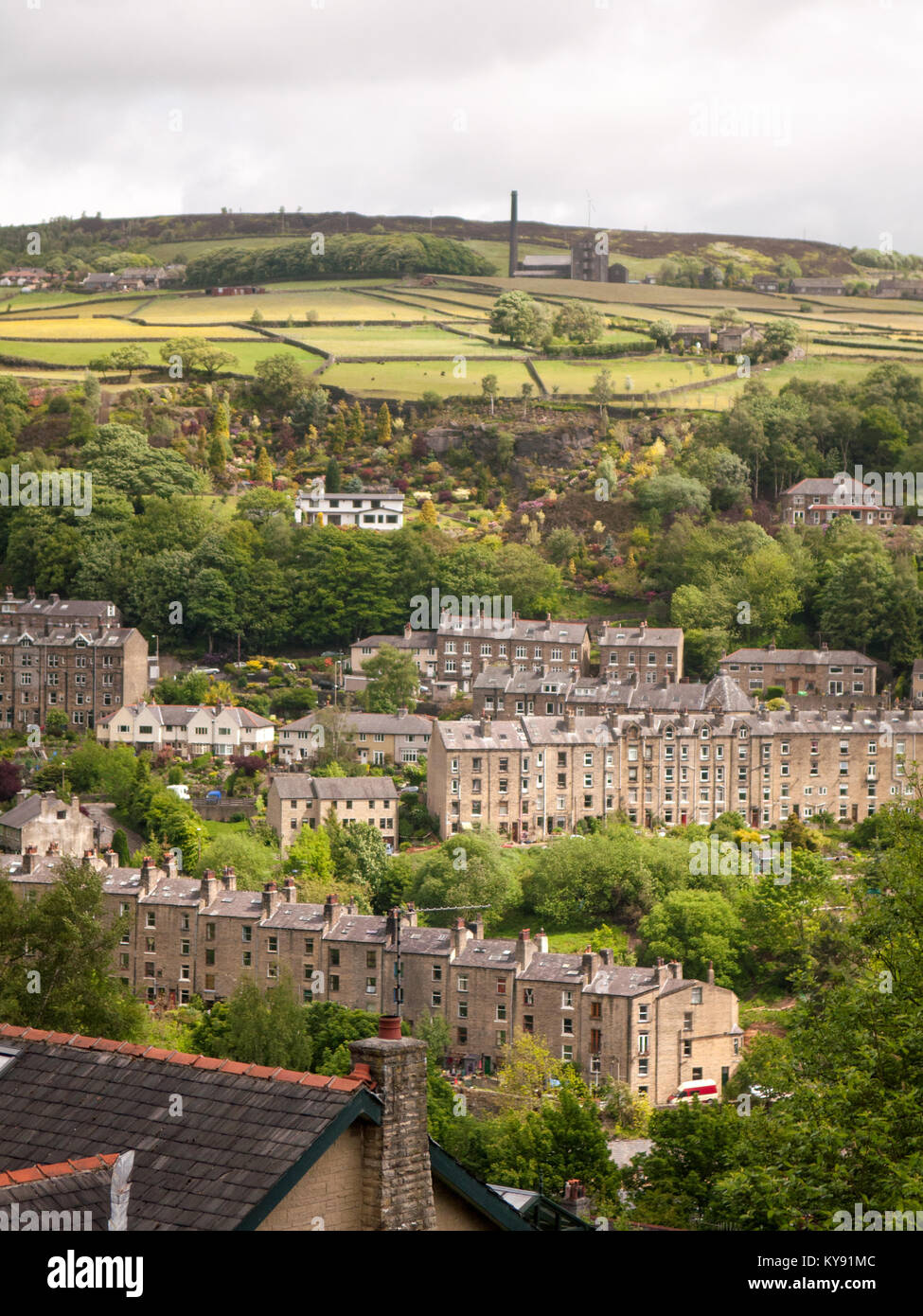 Streets and houses built on the steep hillside at Hebden Bridge in Yorkshire's Calder Valley. Stock Photo