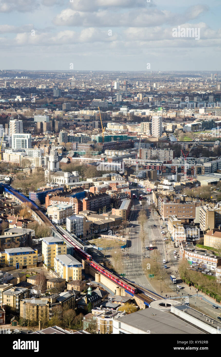 London, England - February 27, 2015: The view over Westferry DLR station and the East End of London from One Canada - Stock Image